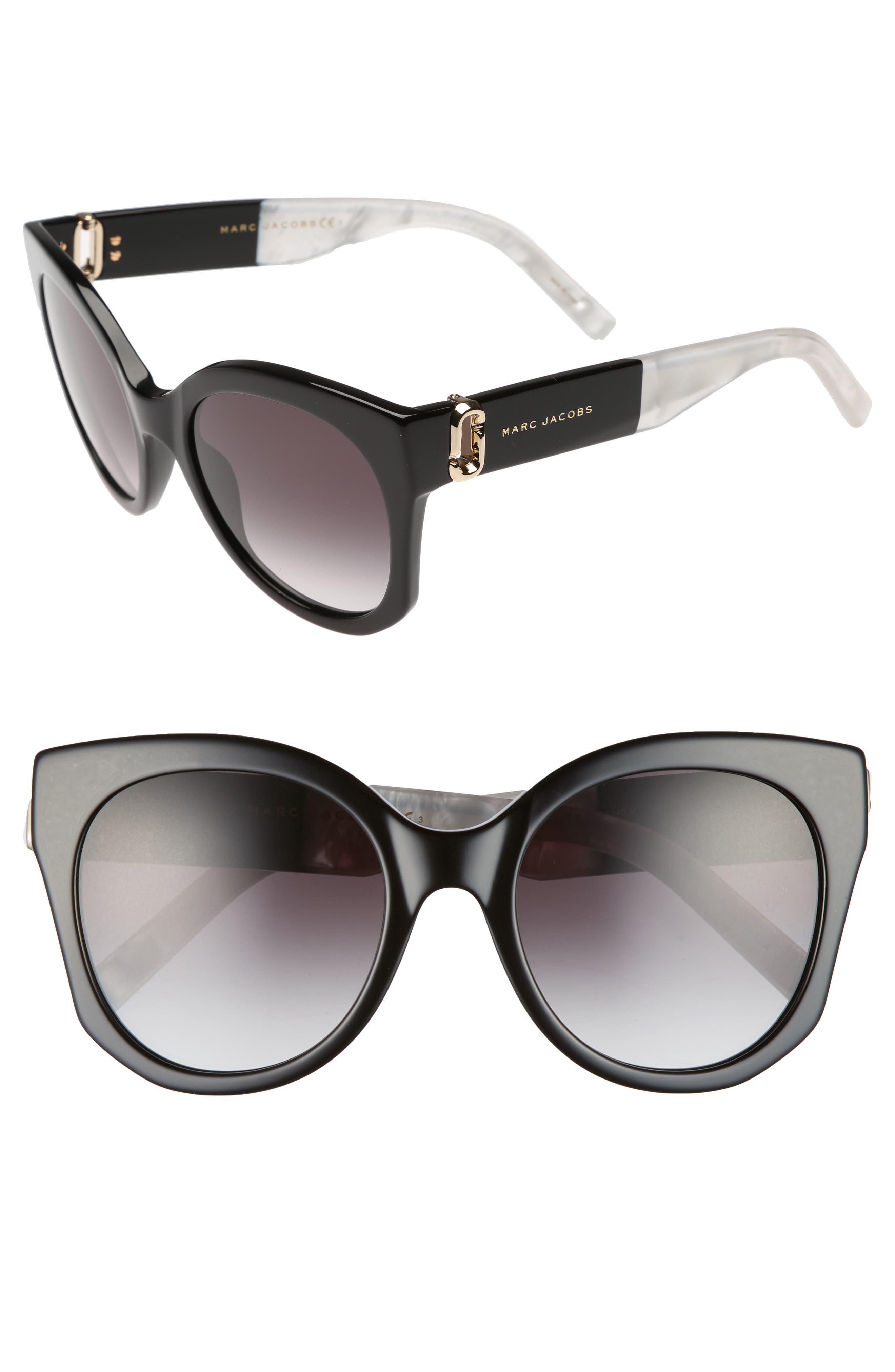 53mm Gradient Lens Cat Eye Sunglasses,                             Main thumbnail 1, color,                             001