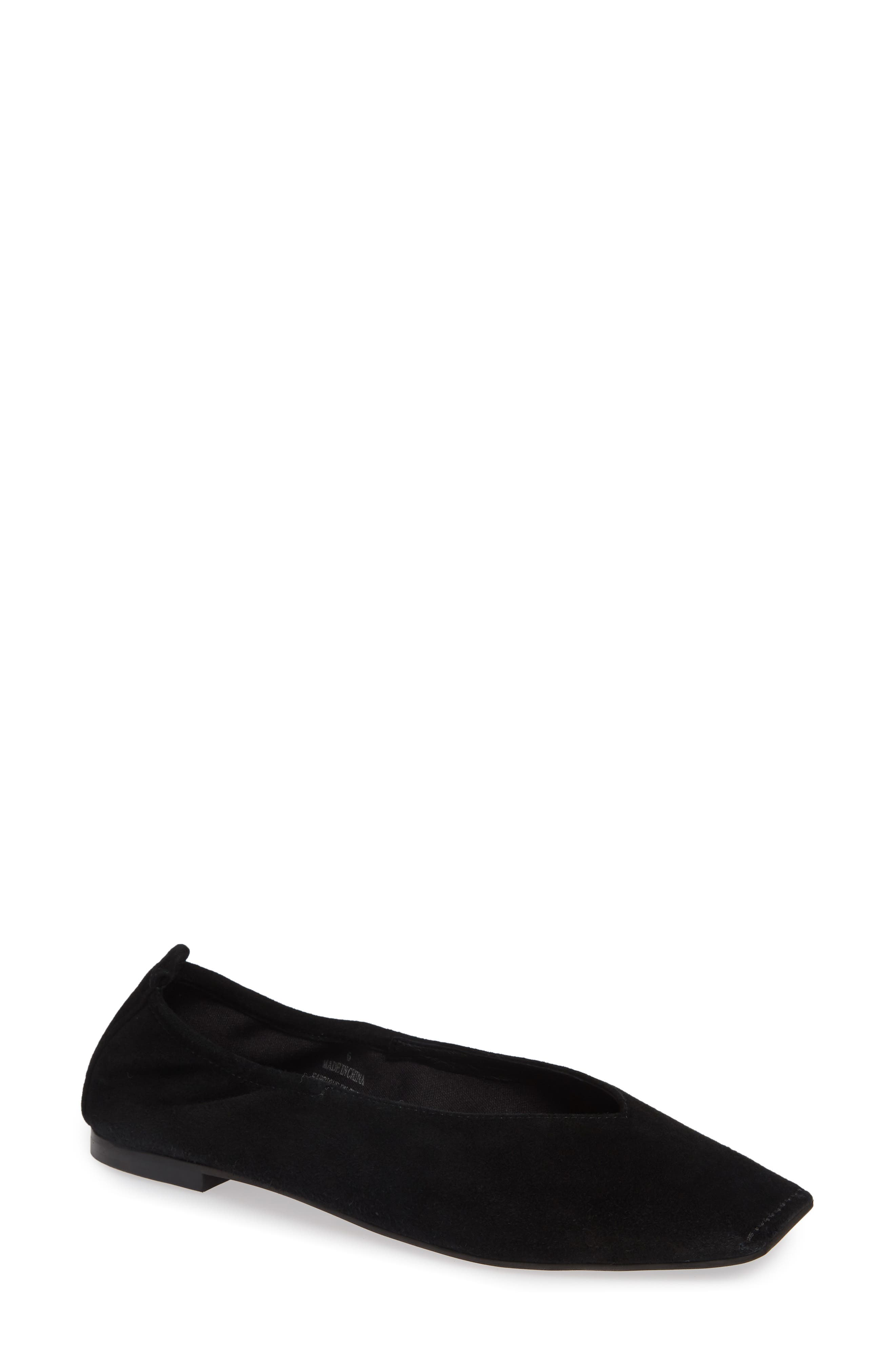 Samoa Blunted Toe Skimmer Flat,                             Main thumbnail 1, color,                             BLACK SUEDE