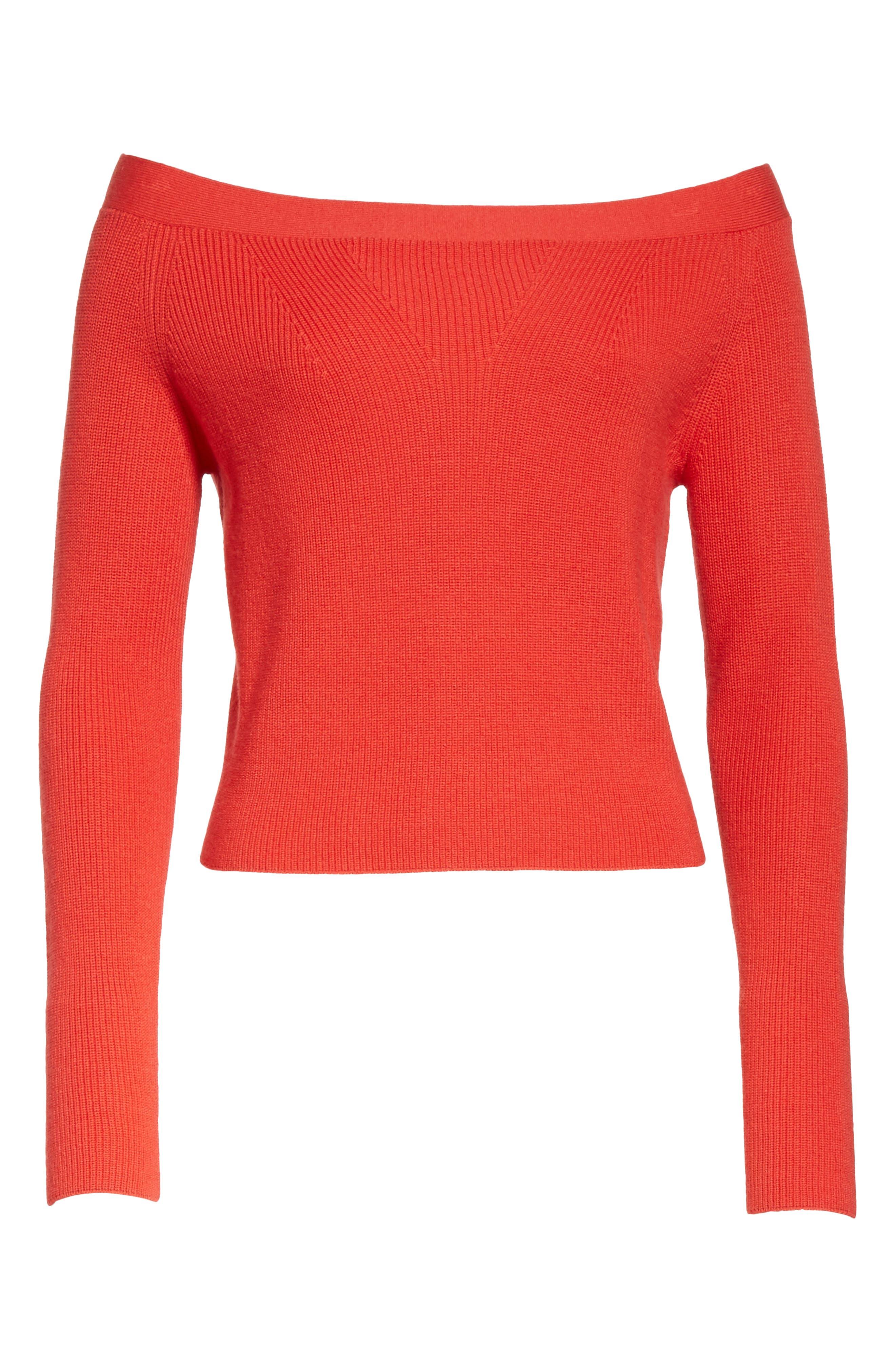 Off the Shoulder Crop Sweater,                             Alternate thumbnail 6, color,                             600