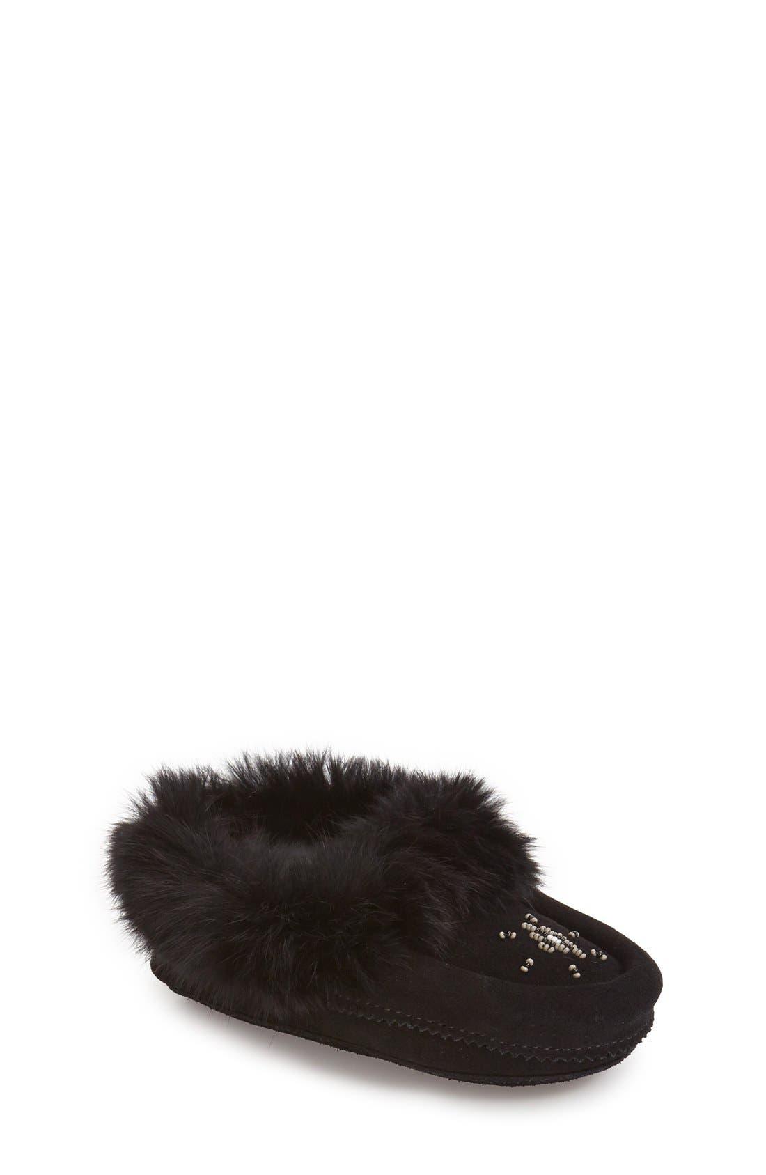Genuine Rabbit Fur Moccasin,                             Main thumbnail 1, color,                             BLACK SUEDE