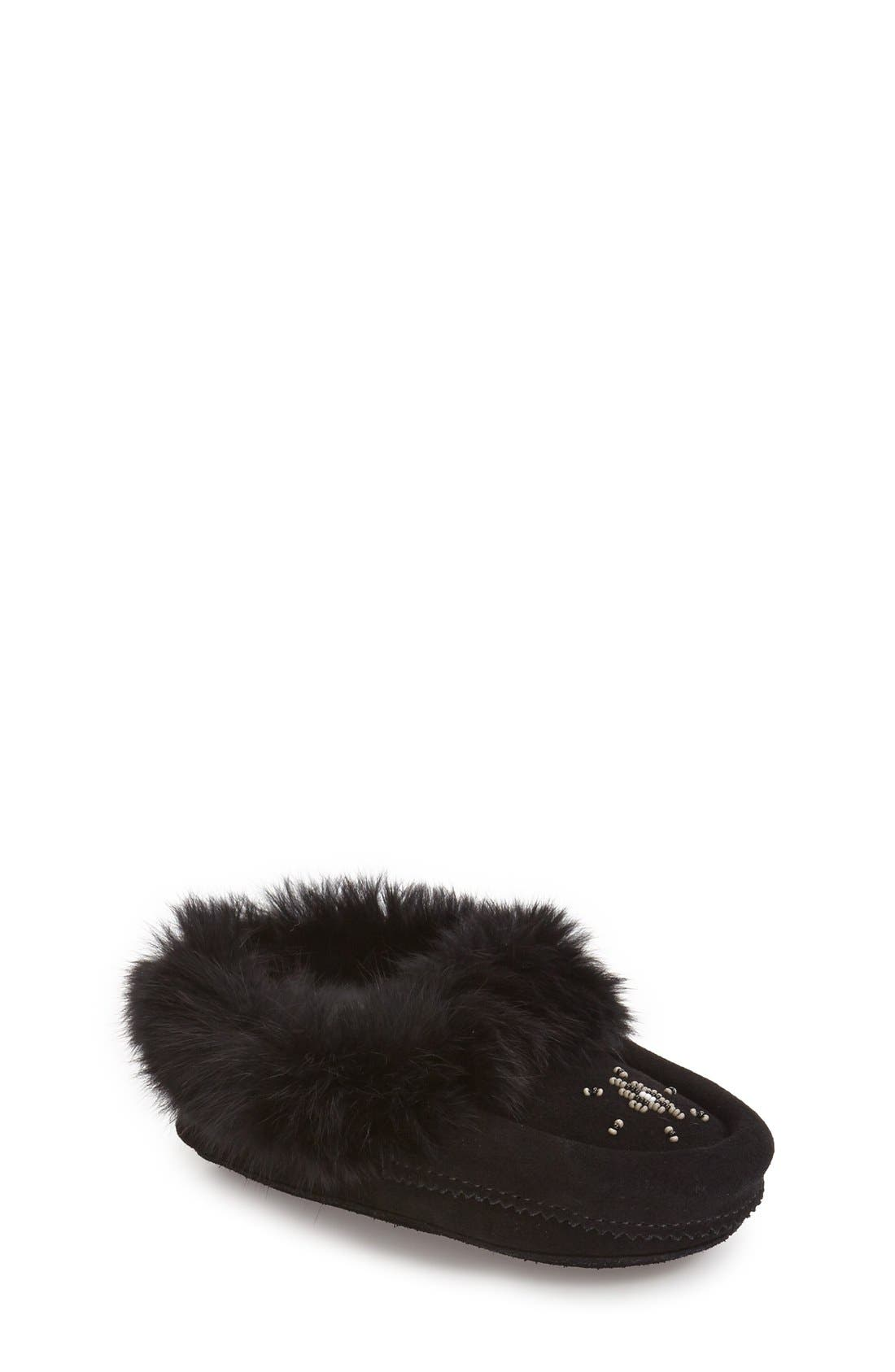 Genuine Rabbit Fur Moccasin,                         Main,                         color, BLACK SUEDE