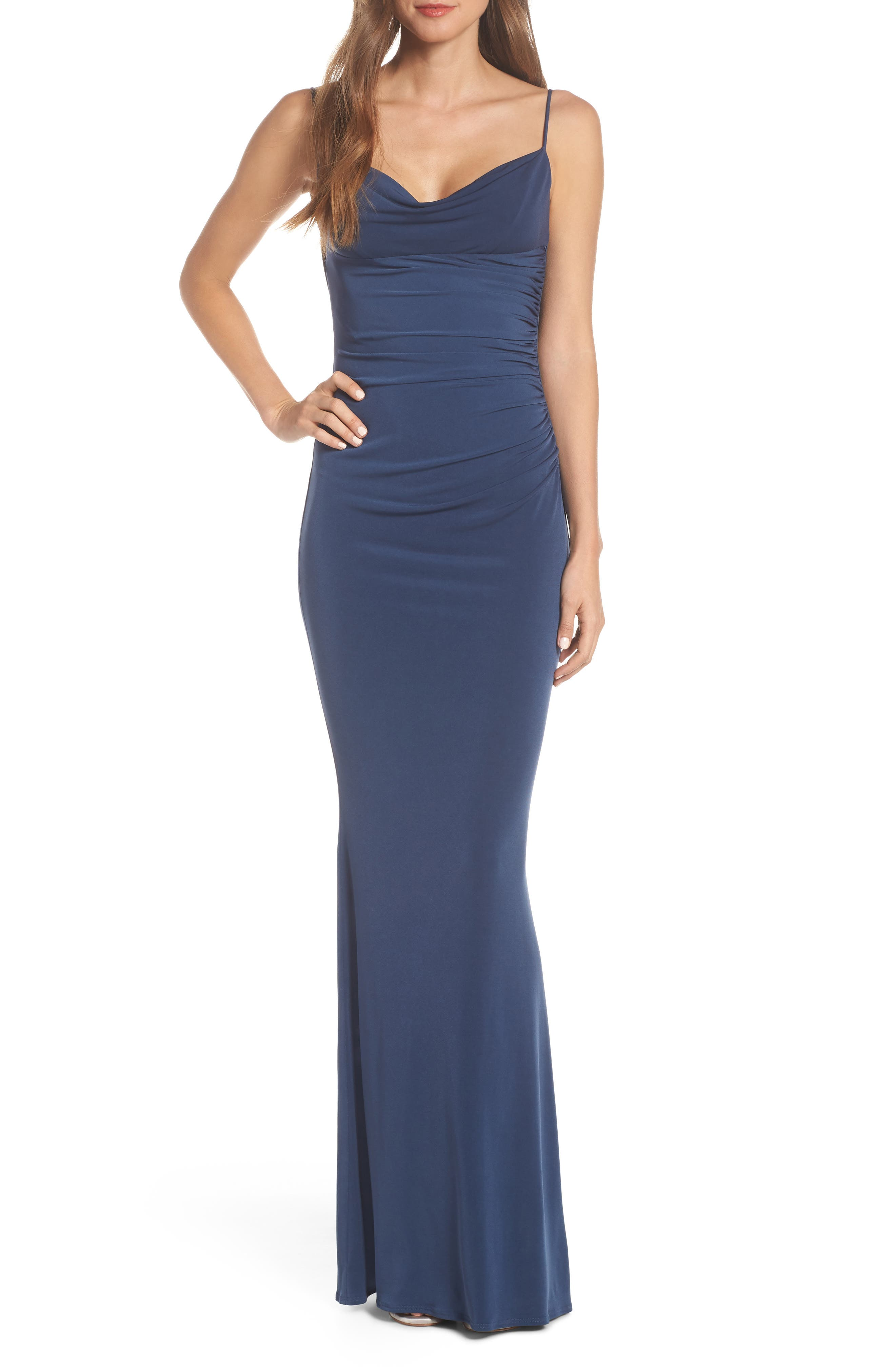 Katie May Surreal Cowl Back Evening Dress, Green