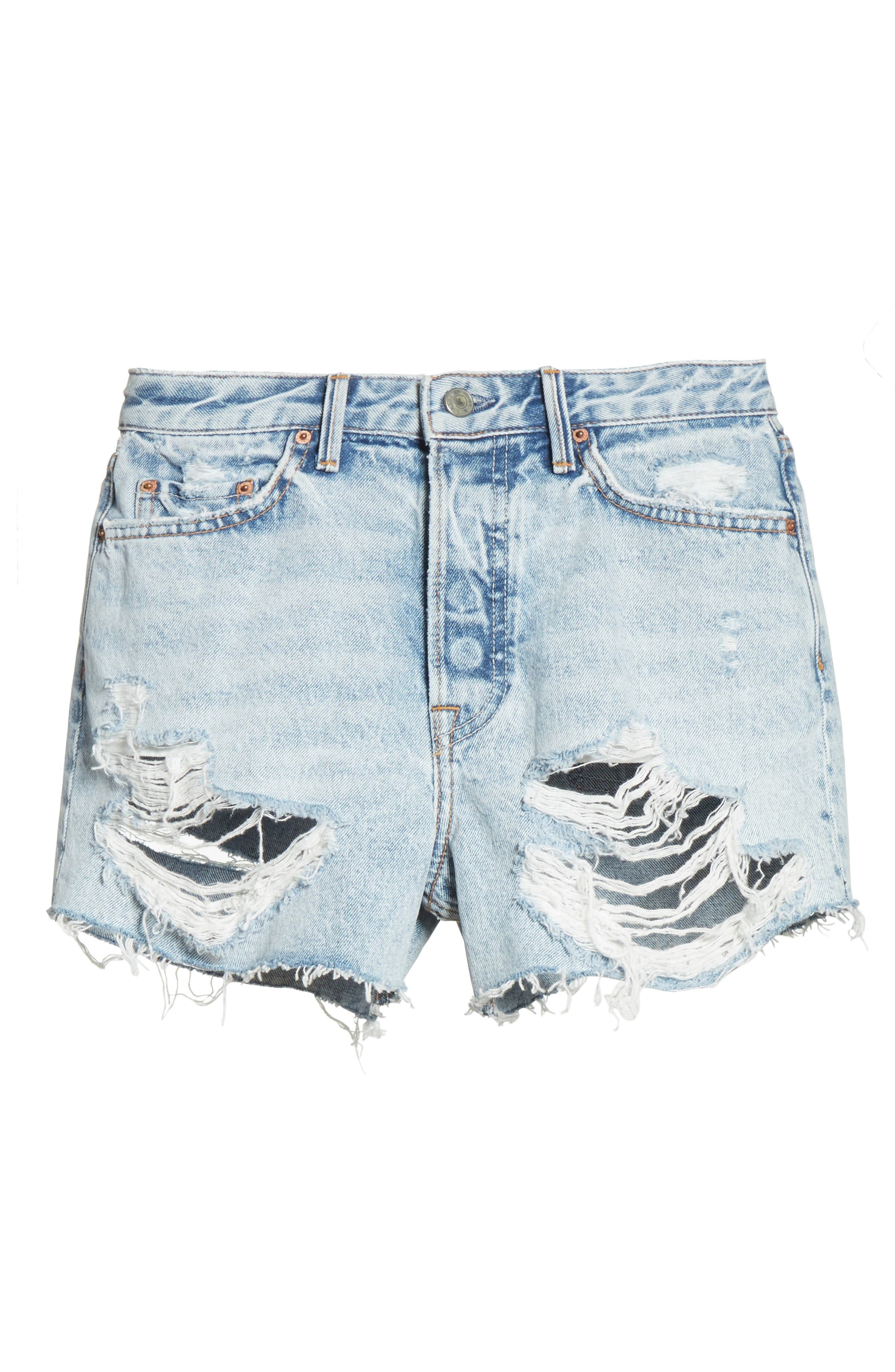 Helena Ripped Denim Shorts,                             Alternate thumbnail 6, color,                             489