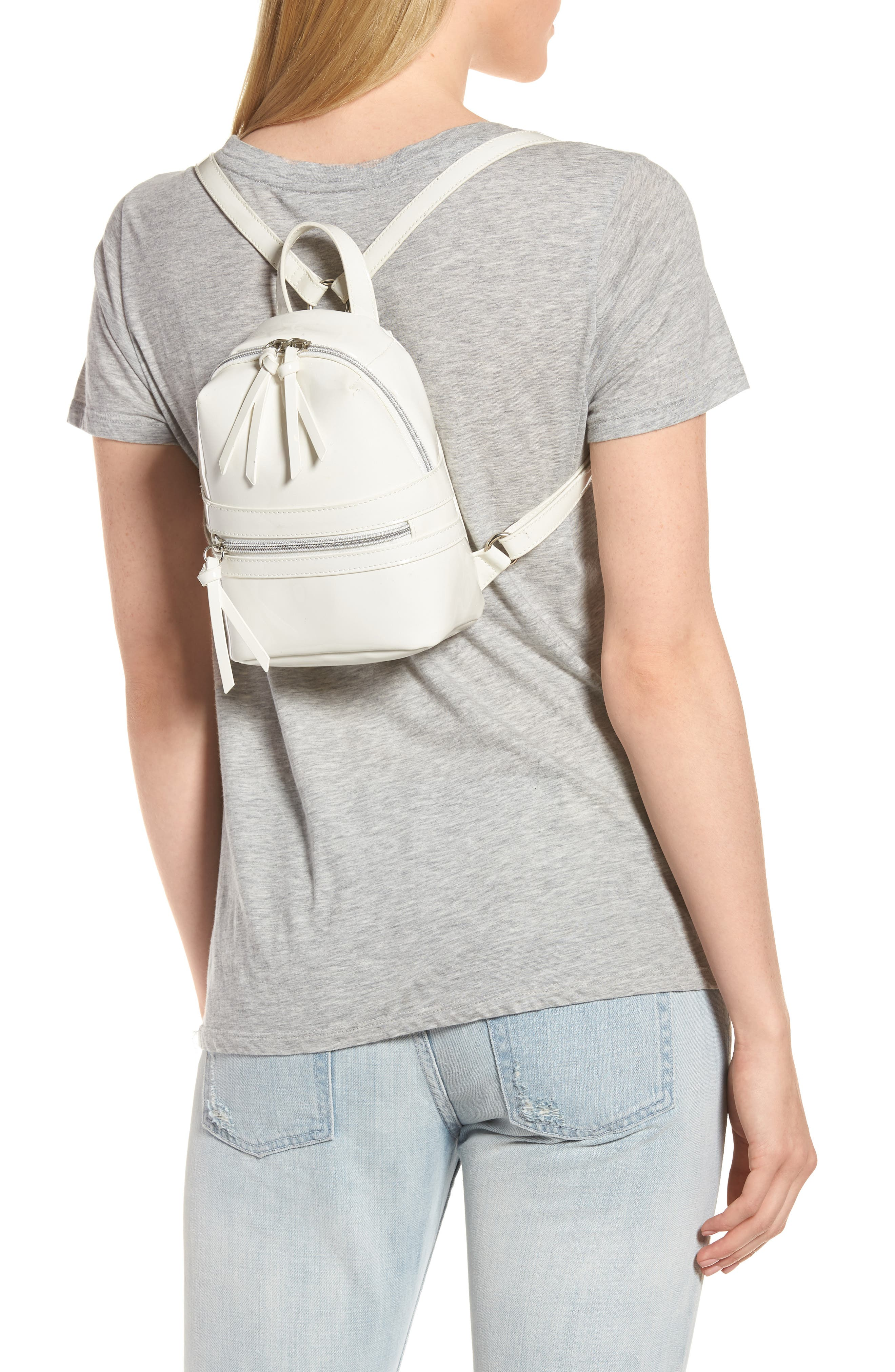 Faux Patent Leather Mini Backpack,                             Alternate thumbnail 2, color,