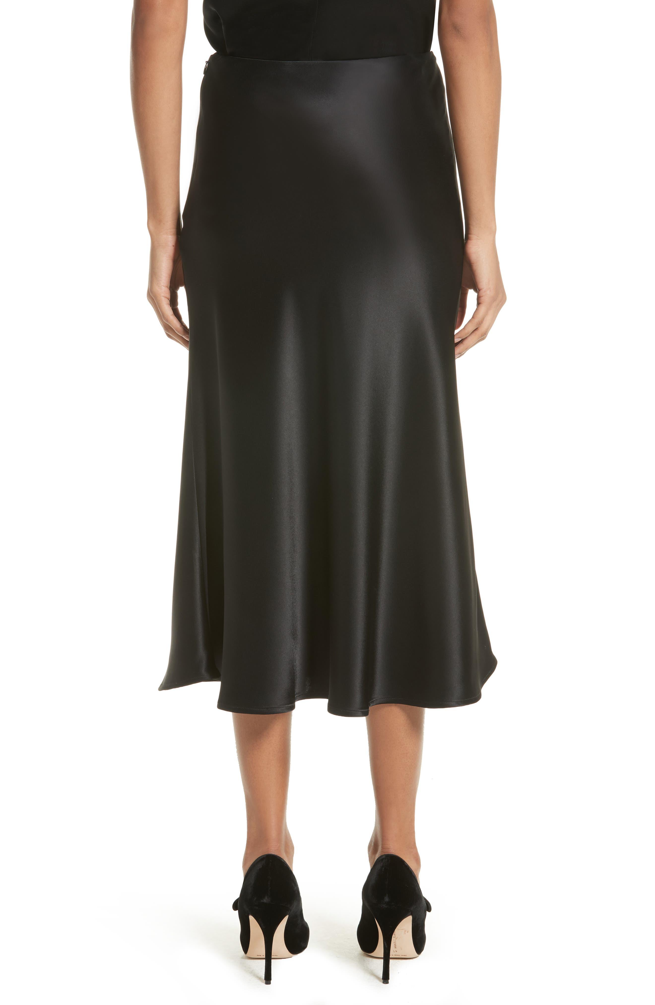 Bias Cut Liquid Satin Flared Skirt,                             Alternate thumbnail 2, color,                             001