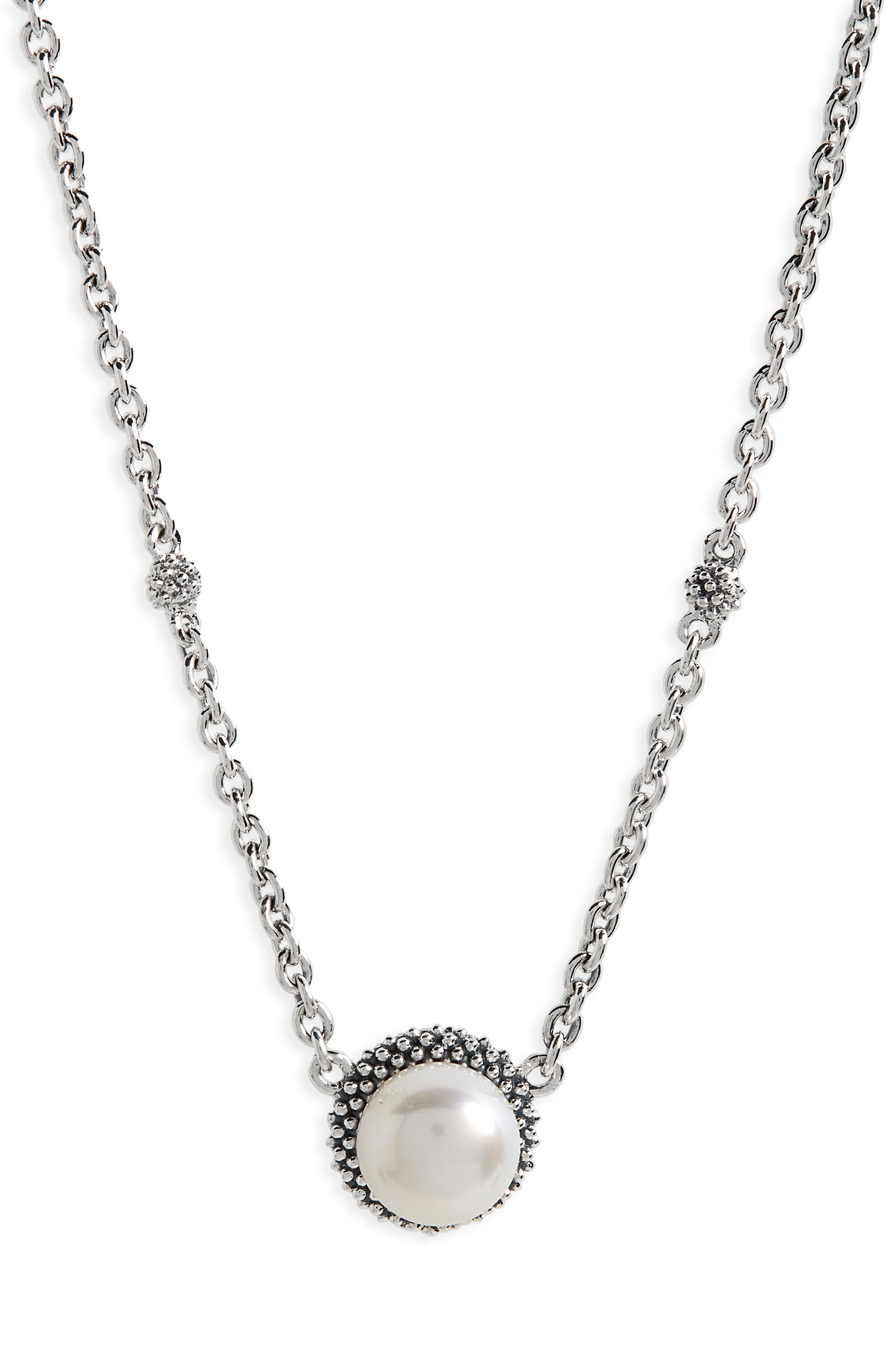 'Luna' Pearl Pendant Necklace,                         Main,                         color, SILVER/ PEARL