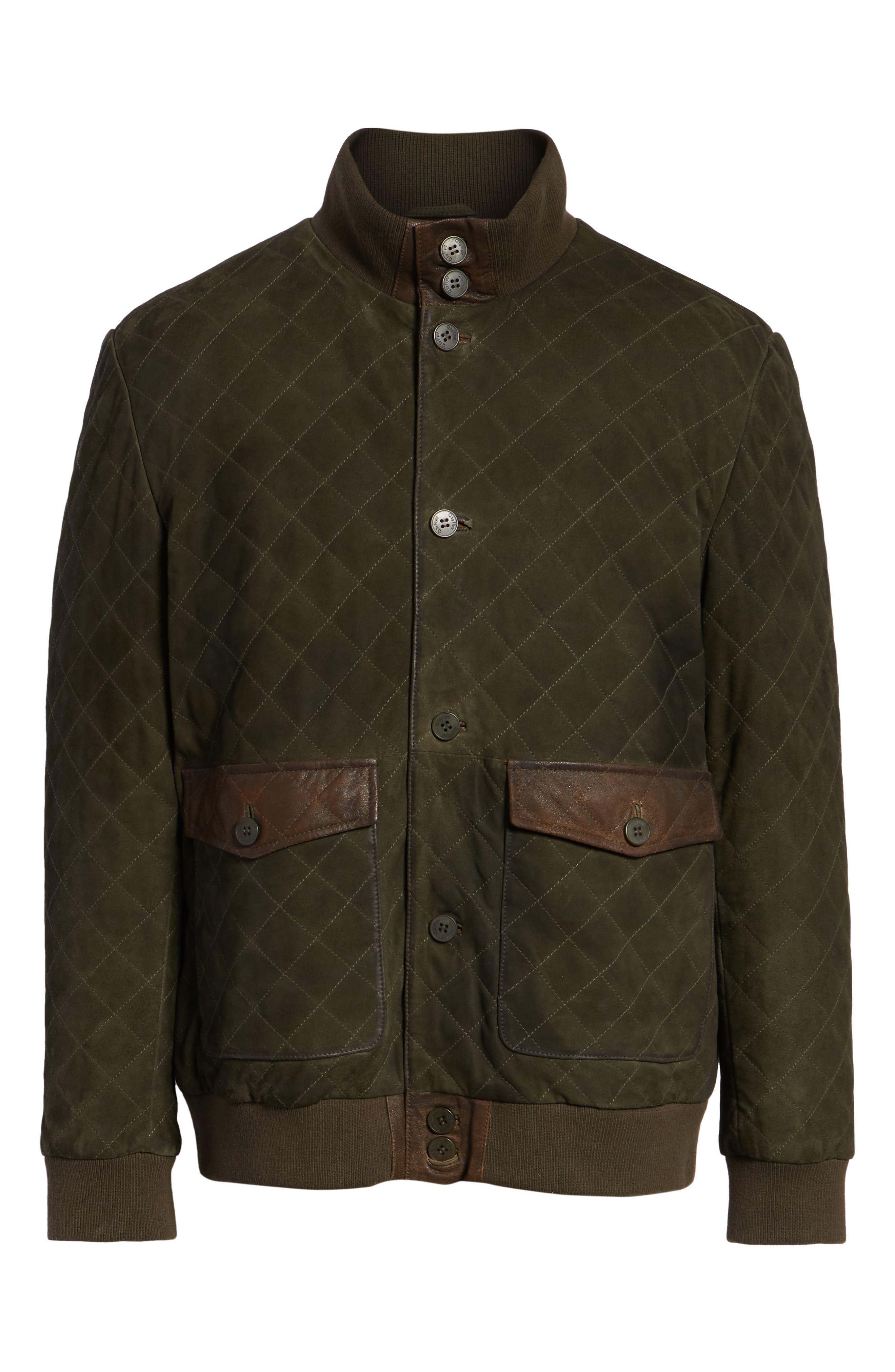 Regular Fit Quilted Suede Jacket,                             Alternate thumbnail 5, color,                             OLIVE