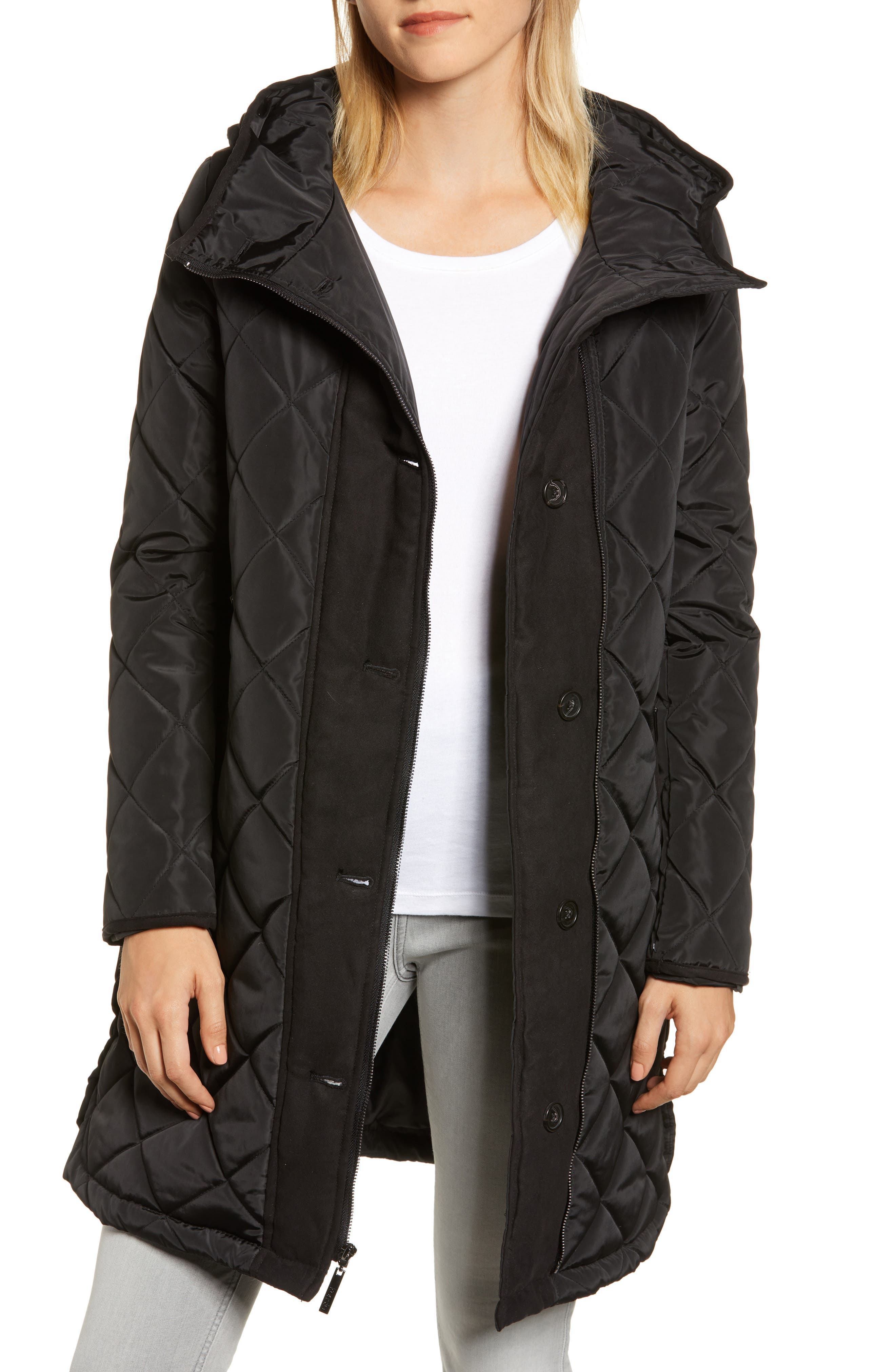 Button Side Quilted Jacket,                             Main thumbnail 1, color,                             BLACK