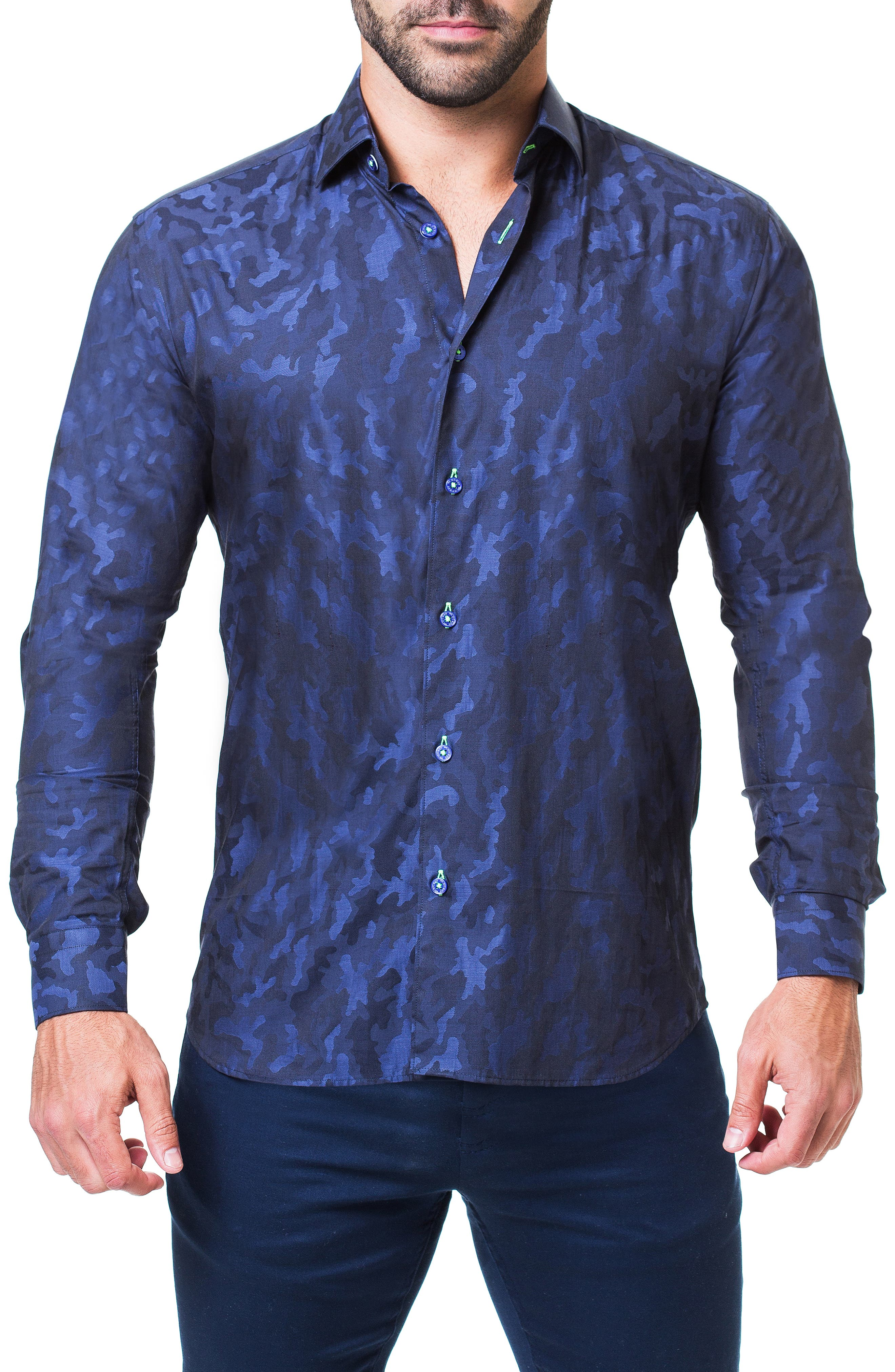 Einstein Camouflage Trim Fit Sport Shirt,                             Main thumbnail 1, color,                             BLUE
