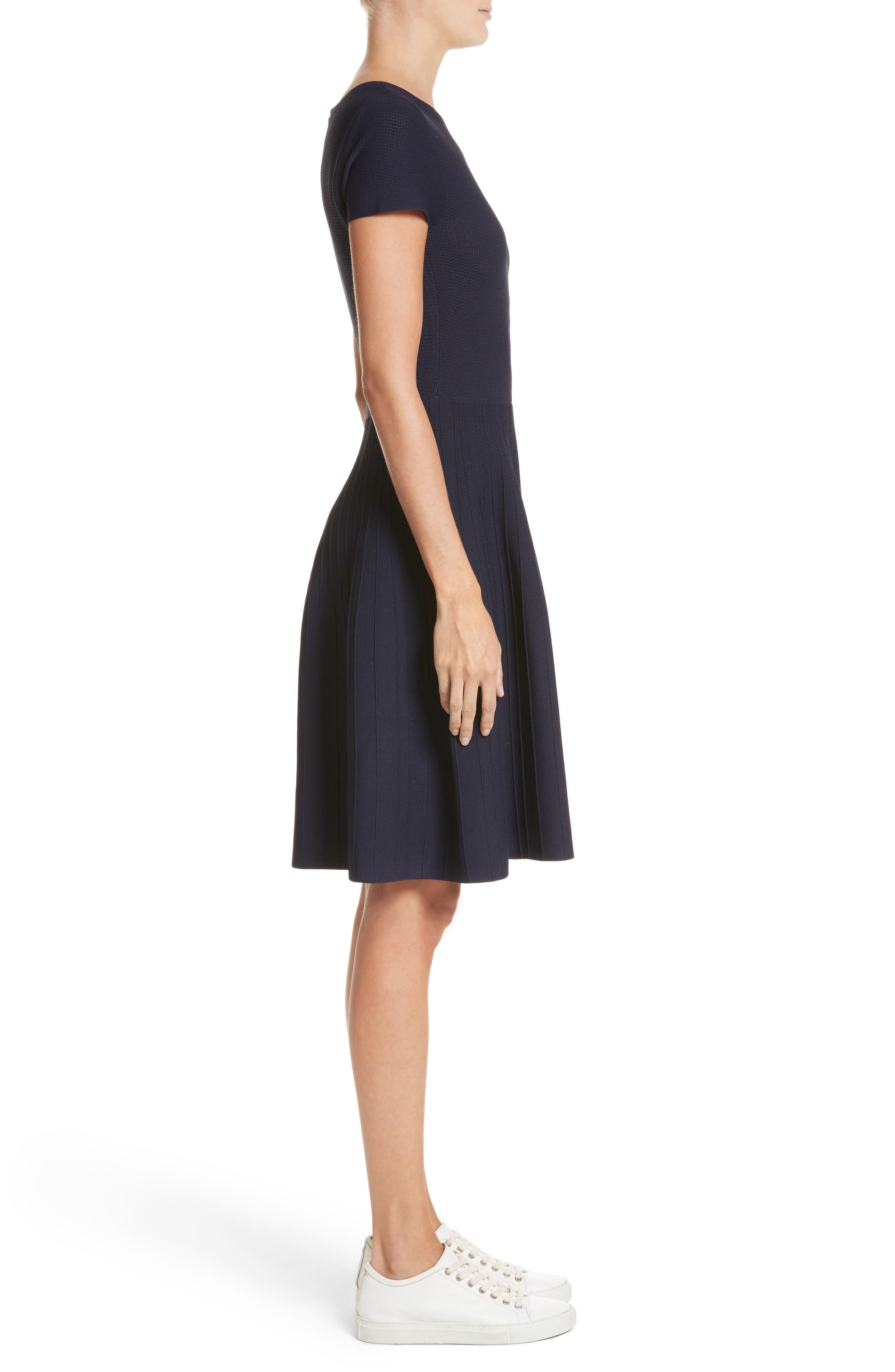 Knit Fit & Flare Dress,                             Alternate thumbnail 3, color,                             414