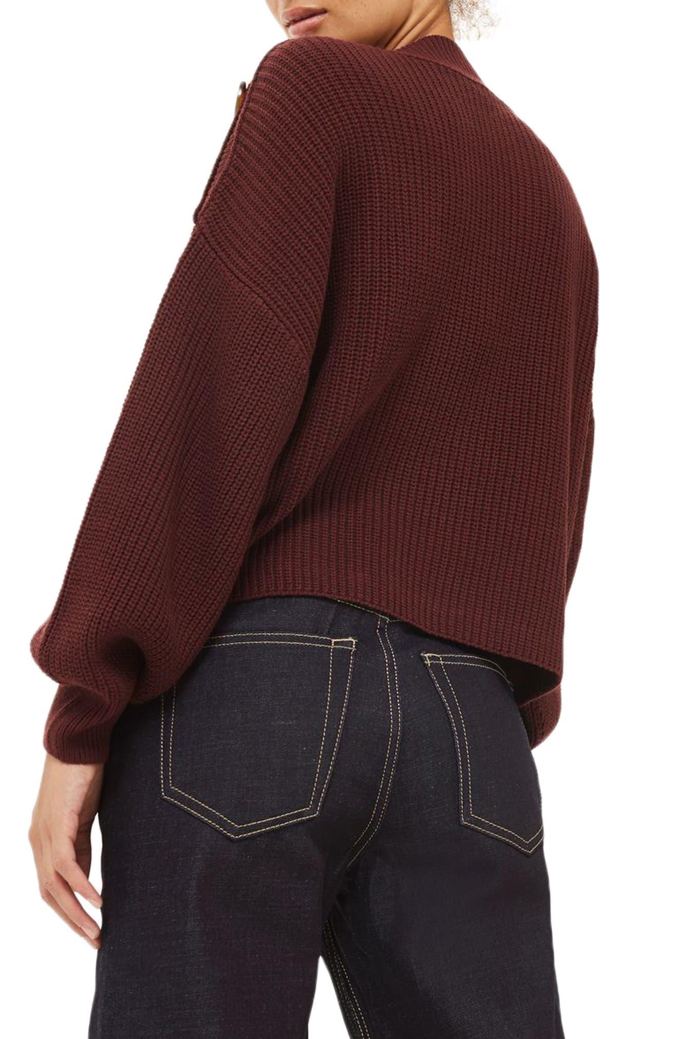Button Slash Knit Sweater,                             Alternate thumbnail 4, color,