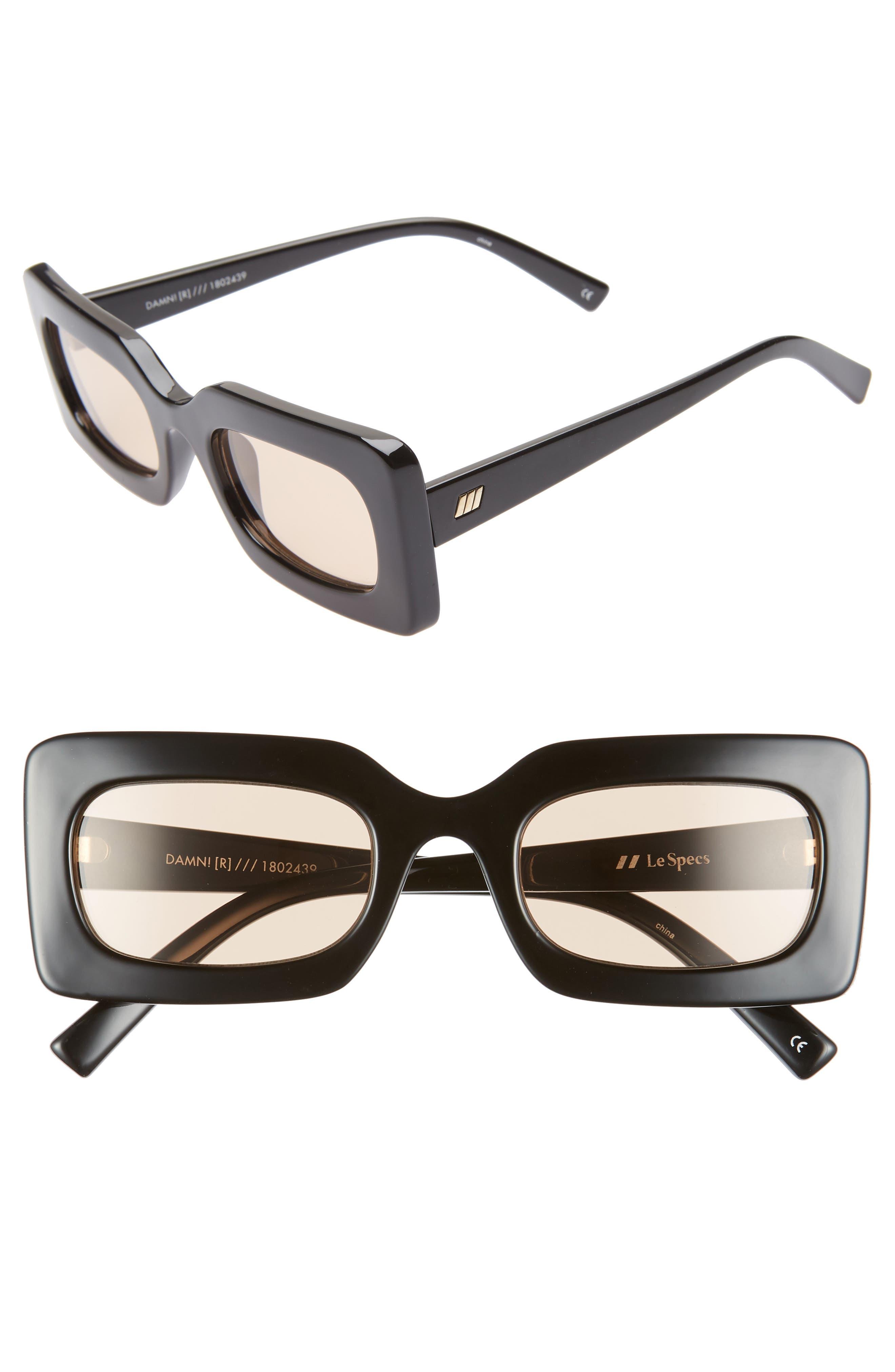 Le Specs 50Mm Rectangle Sunglasses - Black