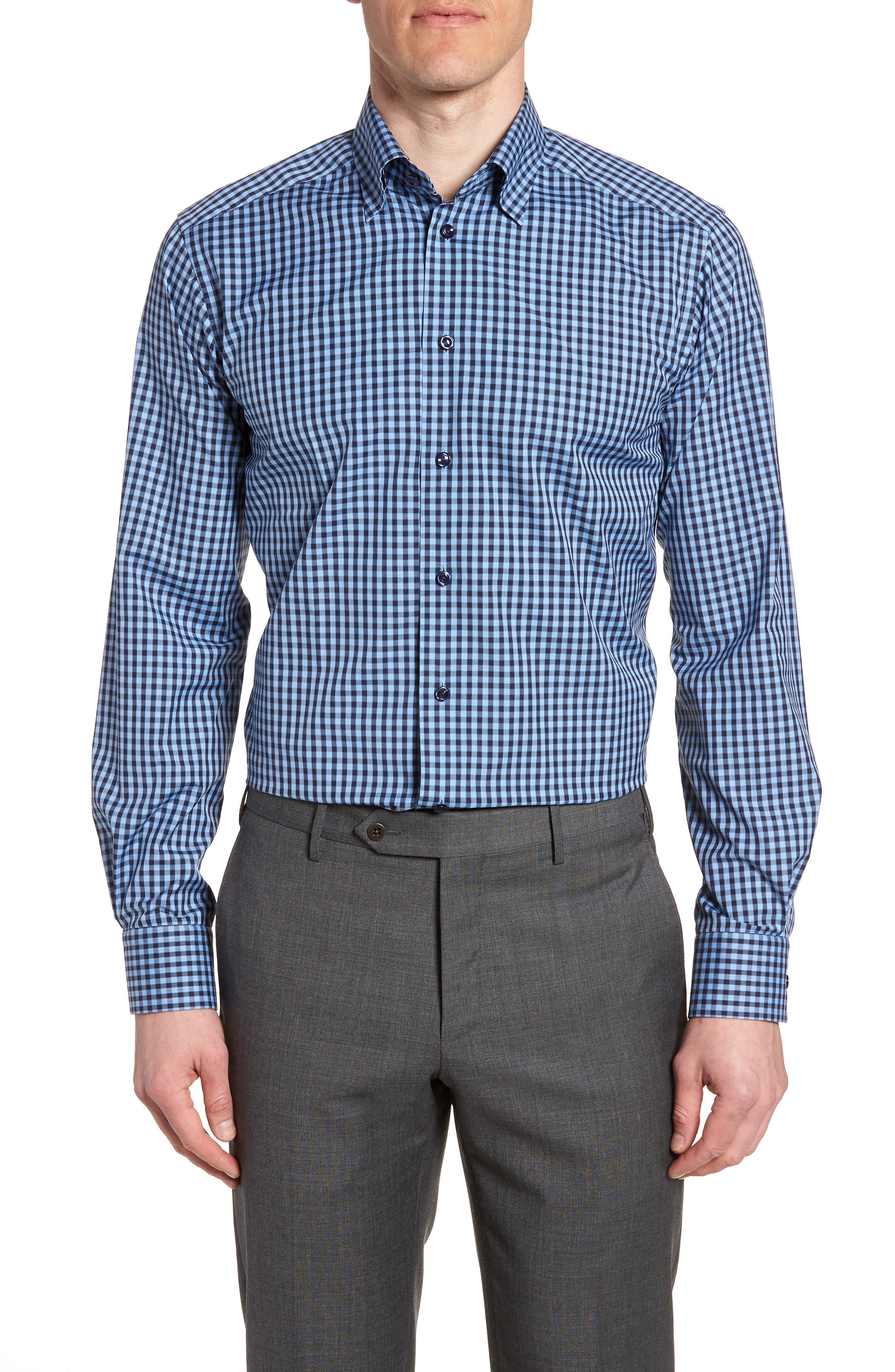 Contemporary Fit Check Dress Shirt,                         Main,                         color, NAVY