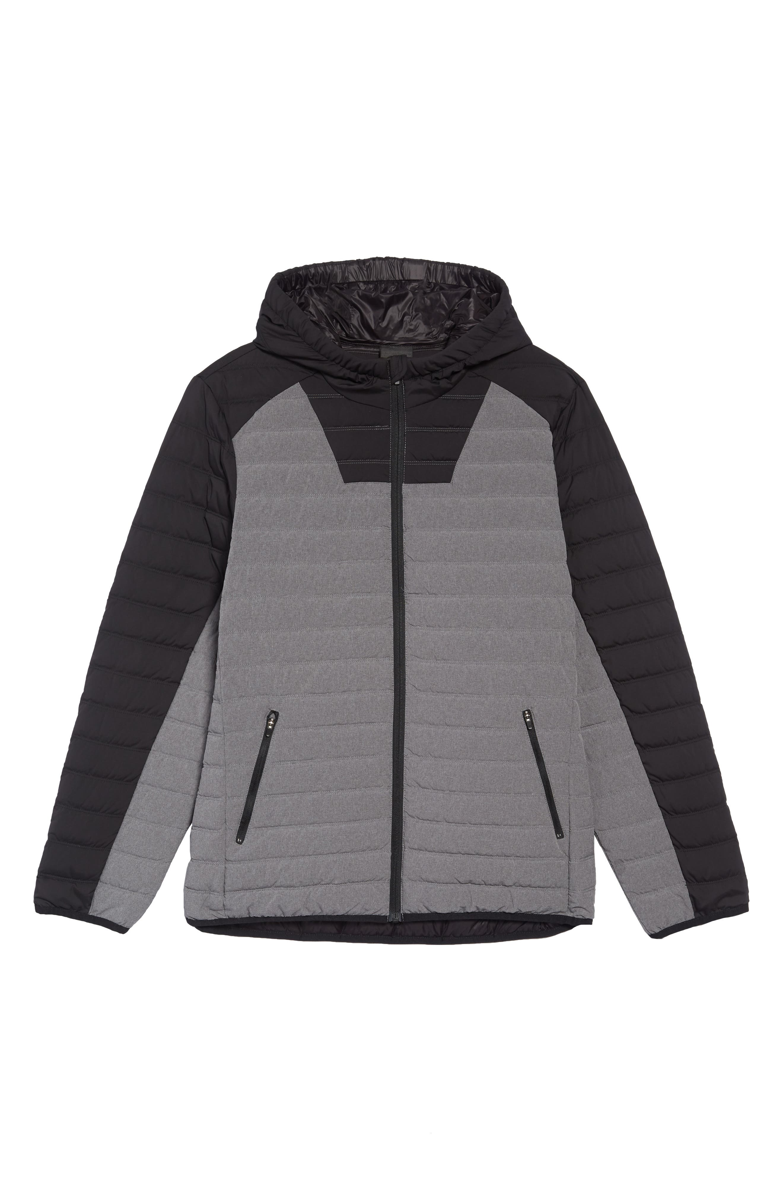 Hooded Water Resistant Down Jacket,                             Alternate thumbnail 5, color,                             BLACK GREY OBSIDIAN