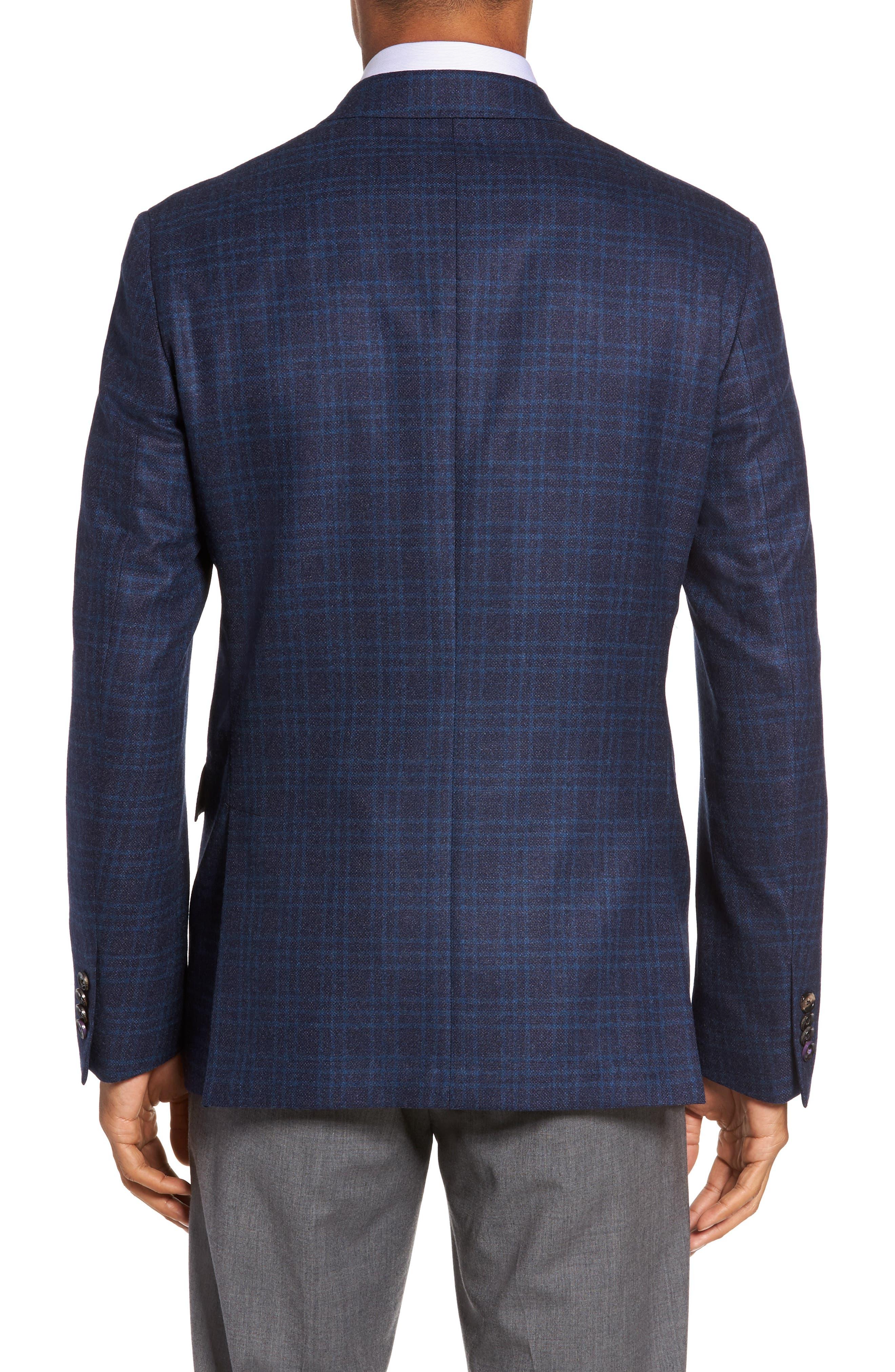 Trim Fit Plaid Wool Sport Coat,                             Alternate thumbnail 2, color,