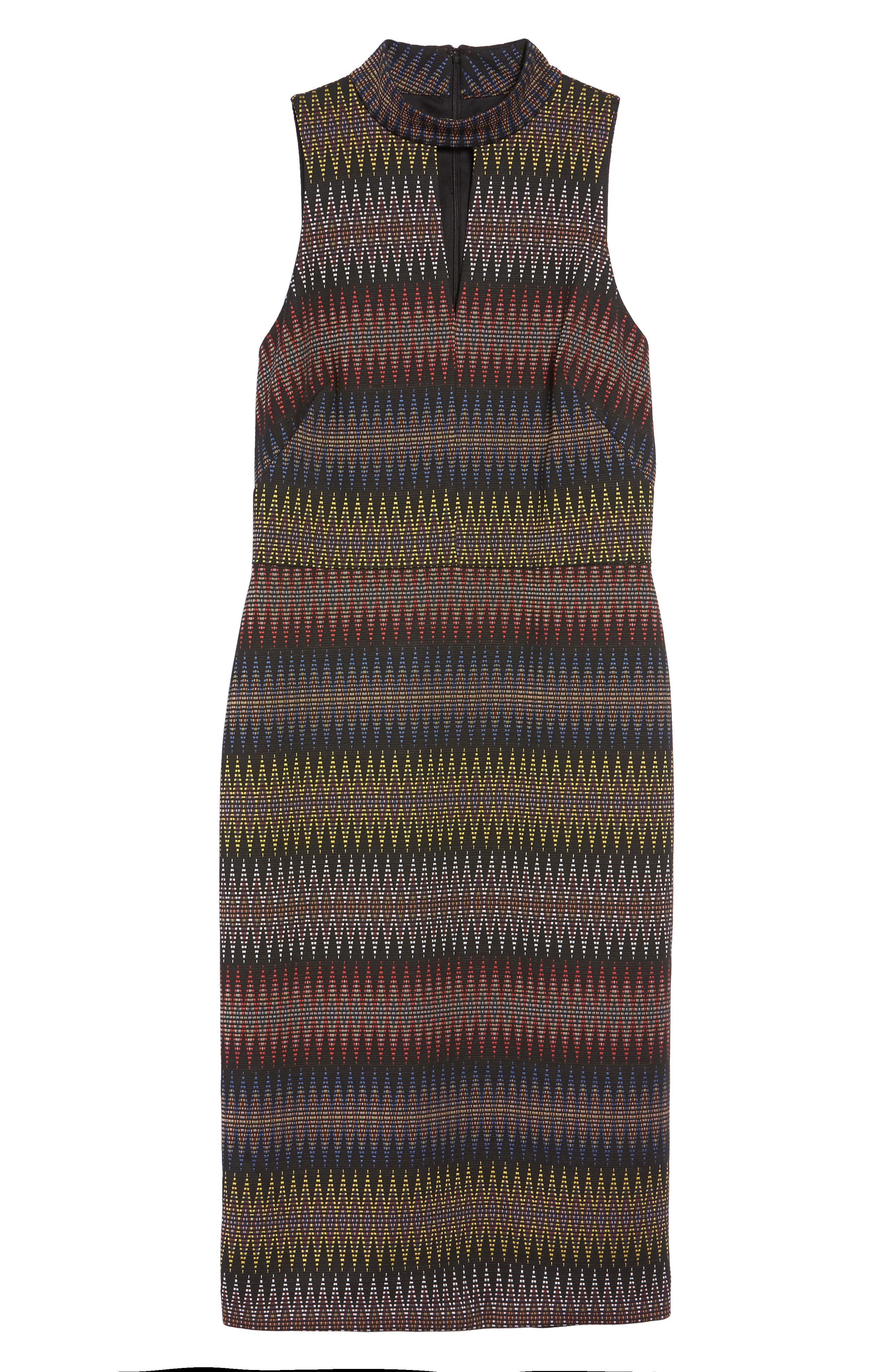 Jacquard Sheath Dress,                             Alternate thumbnail 6, color,                             001