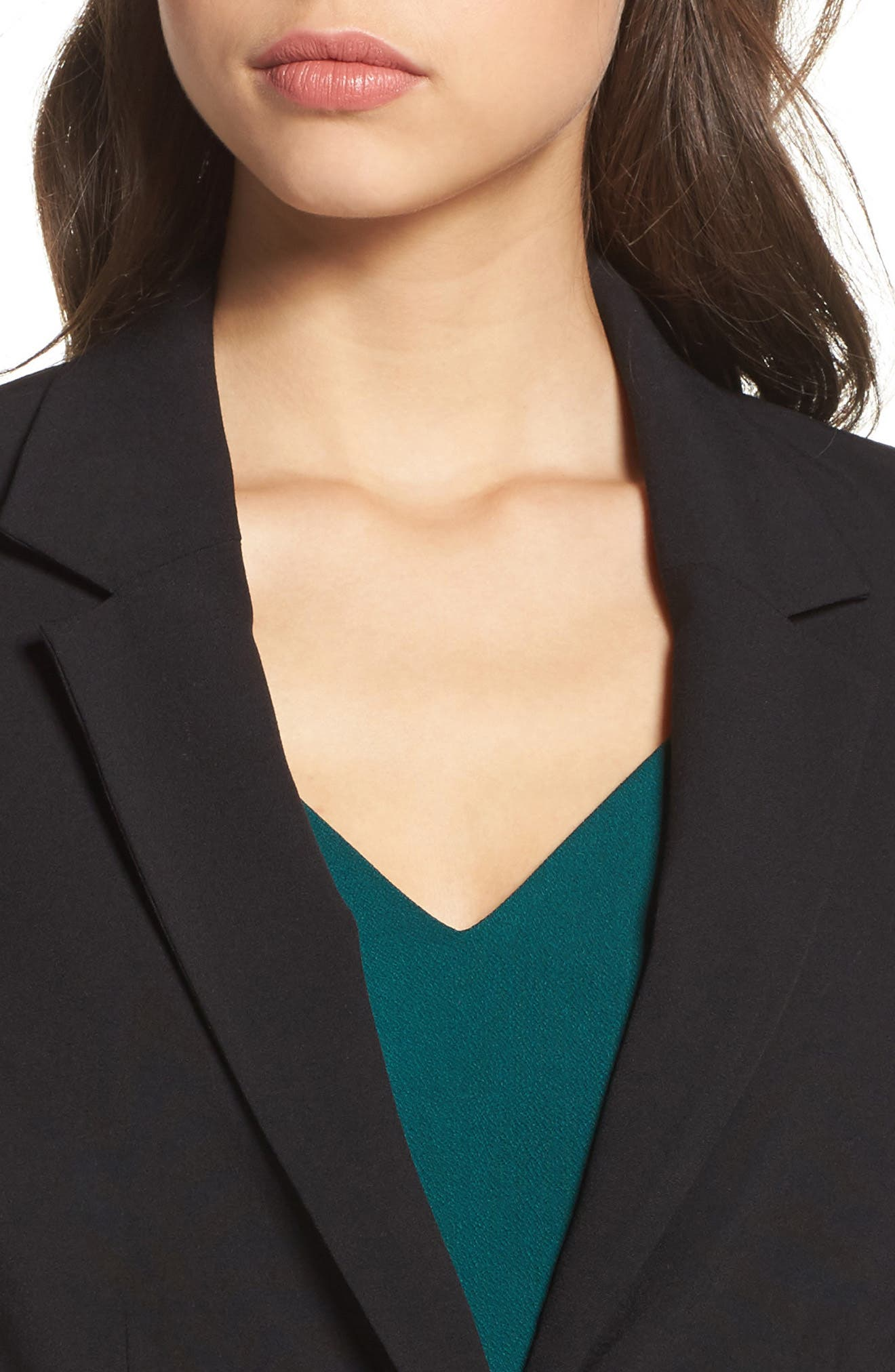 Ruched Sleeve Blazer,                             Alternate thumbnail 4, color,                             BLACK