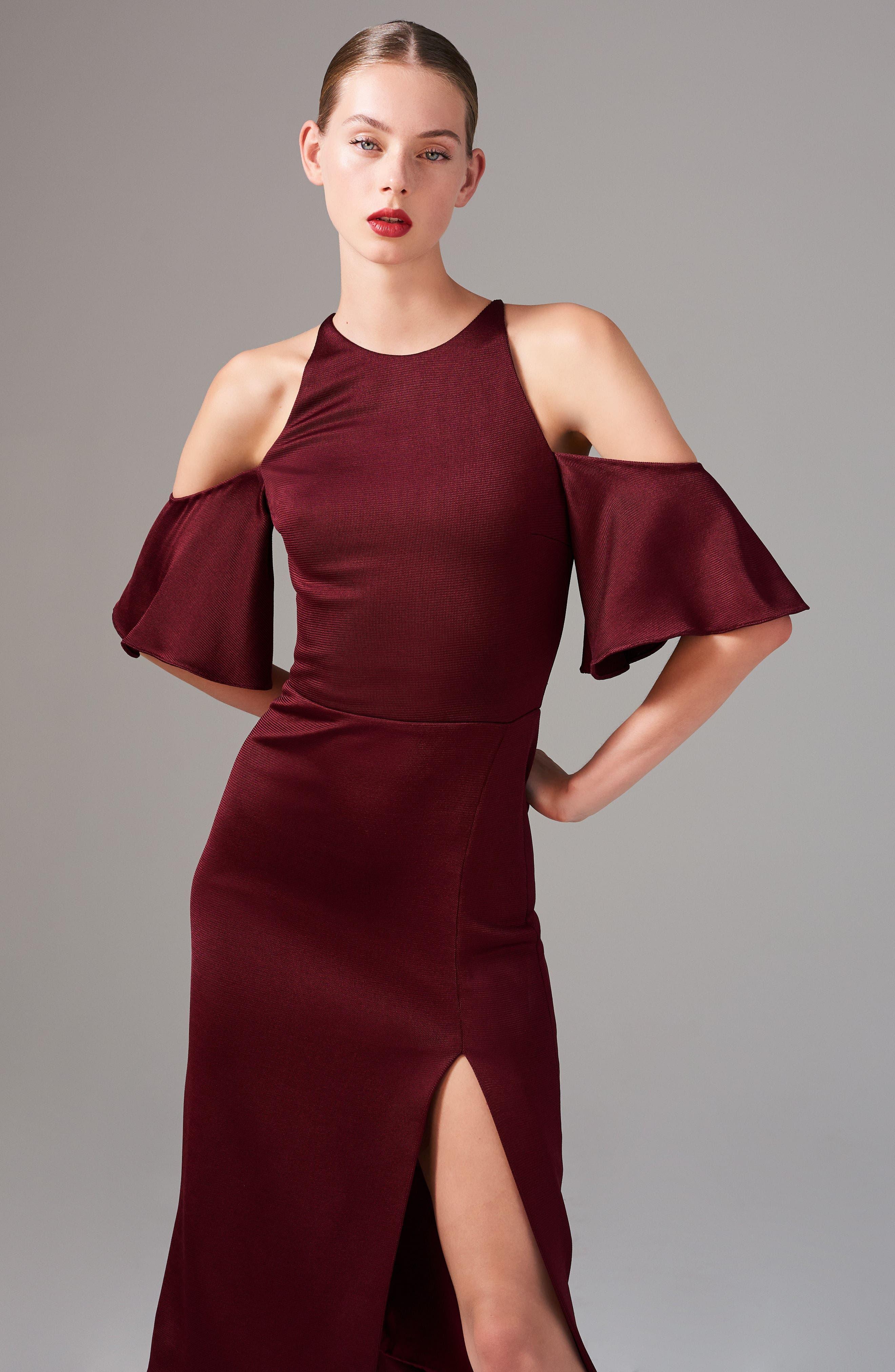 Flutter Sleeve Cold Shoulder Pencil Dress,                             Alternate thumbnail 7, color,                             932