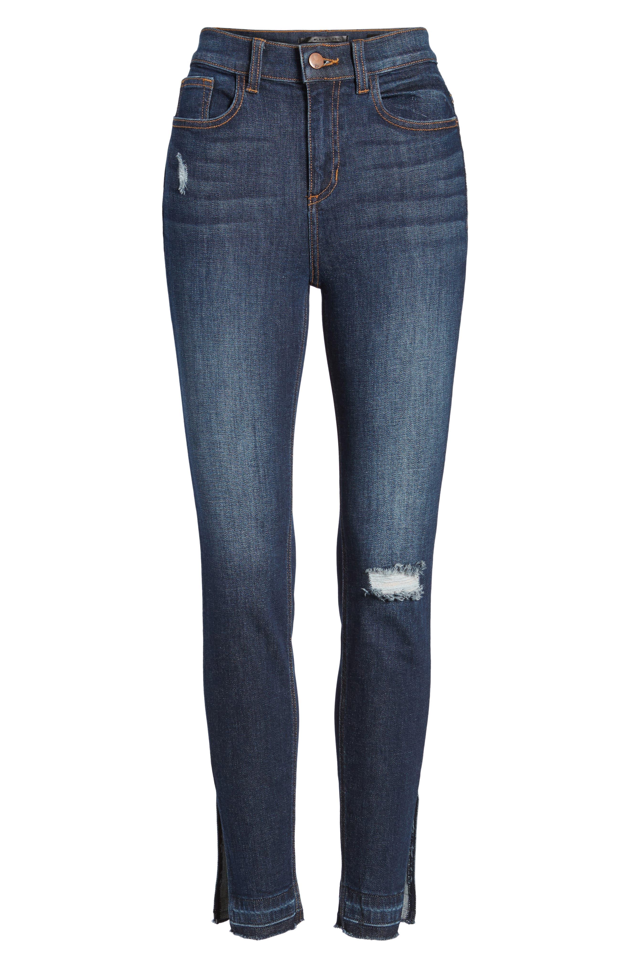 Split Hem Skinny Jeans,                             Alternate thumbnail 6, color,                             401