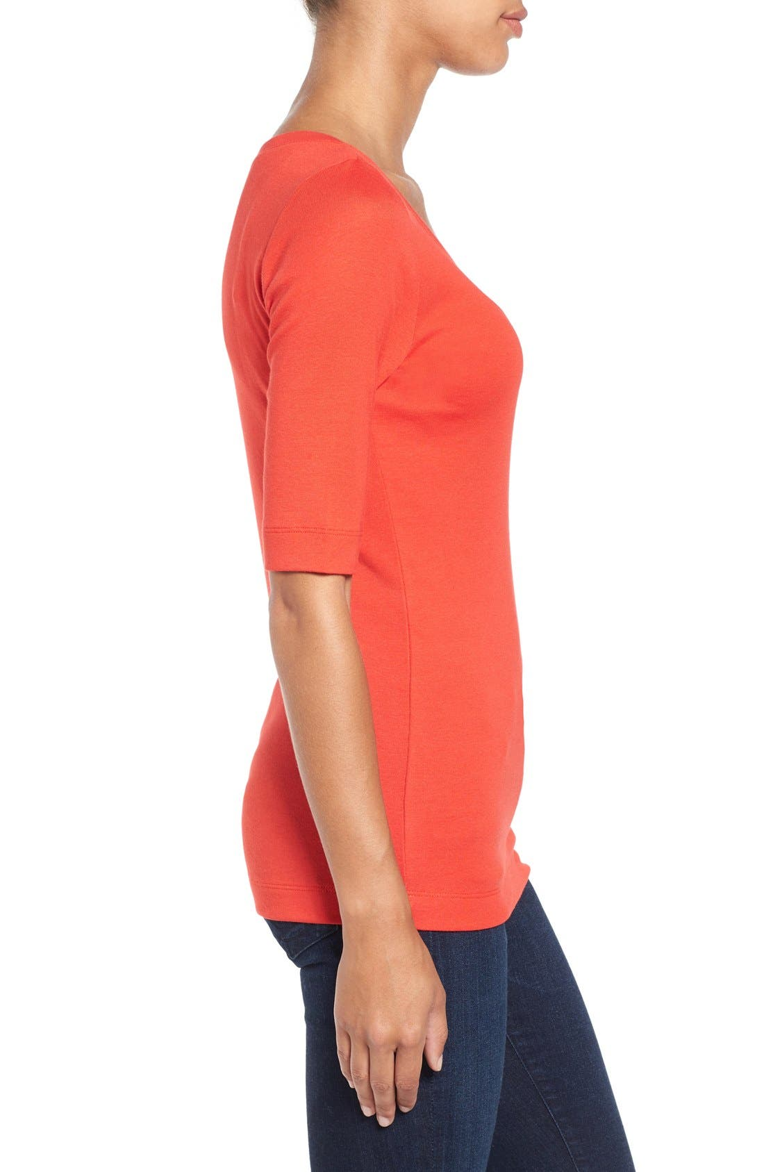 Ballet Neck Cotton & Modal Knit Elbow Sleeve Tee,                             Alternate thumbnail 207, color,