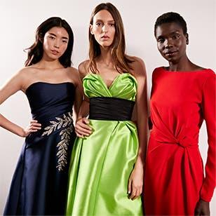 Three models wearing Carolina Herrera backstage at Nordstrom Live.