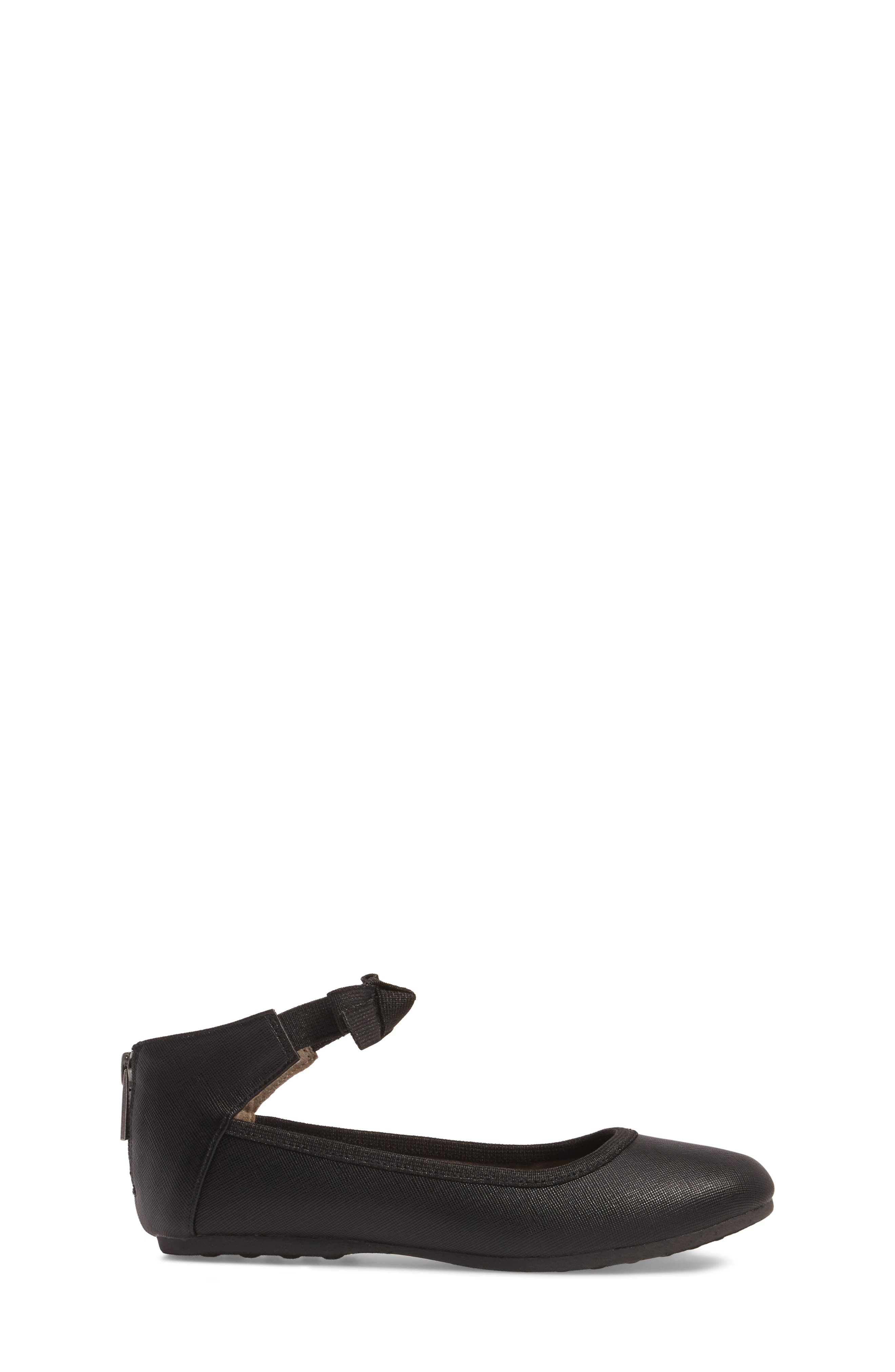 Rose Bow Ballet Flat,                             Alternate thumbnail 3, color,                             BLACK