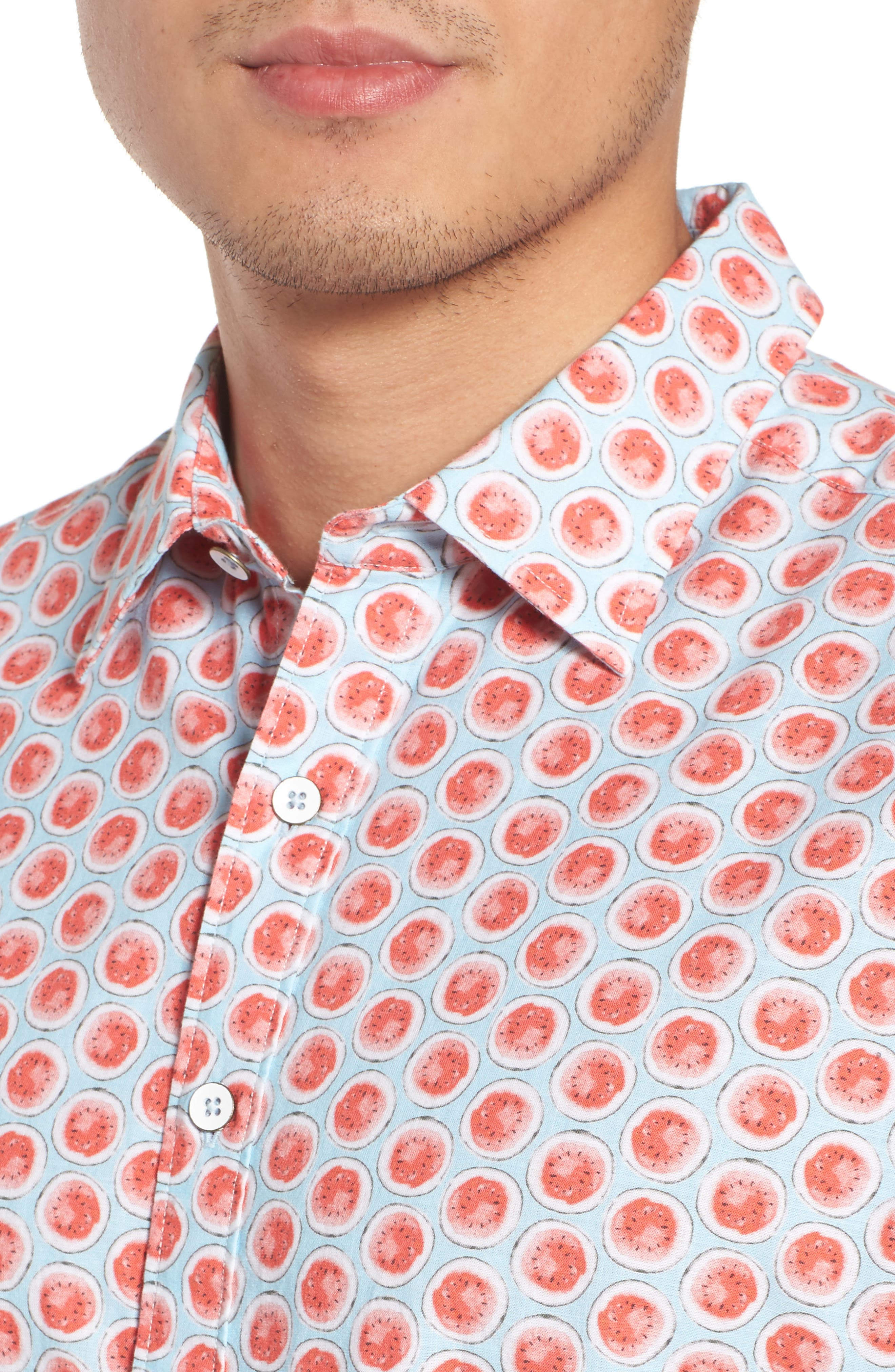 Mellons Bay Regular Fit Sport Shirt,                             Alternate thumbnail 4, color,                             WATERMELON