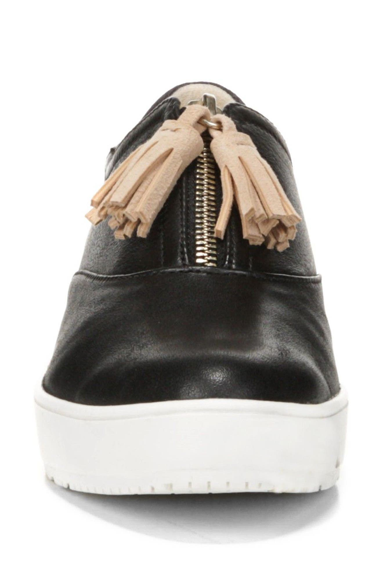 Blakely Tassel Zip Sneaker,                             Alternate thumbnail 4, color,                             001