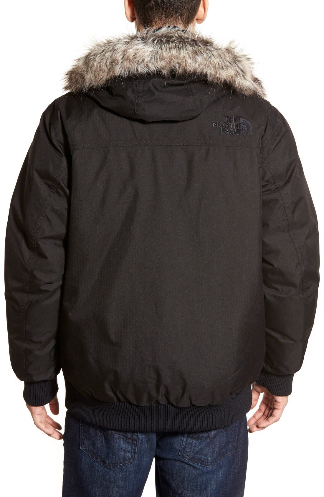 'Gotham II' Hooded Goose Down Jacket with Faux Fur Trim,                             Alternate thumbnail 5, color,                             001
