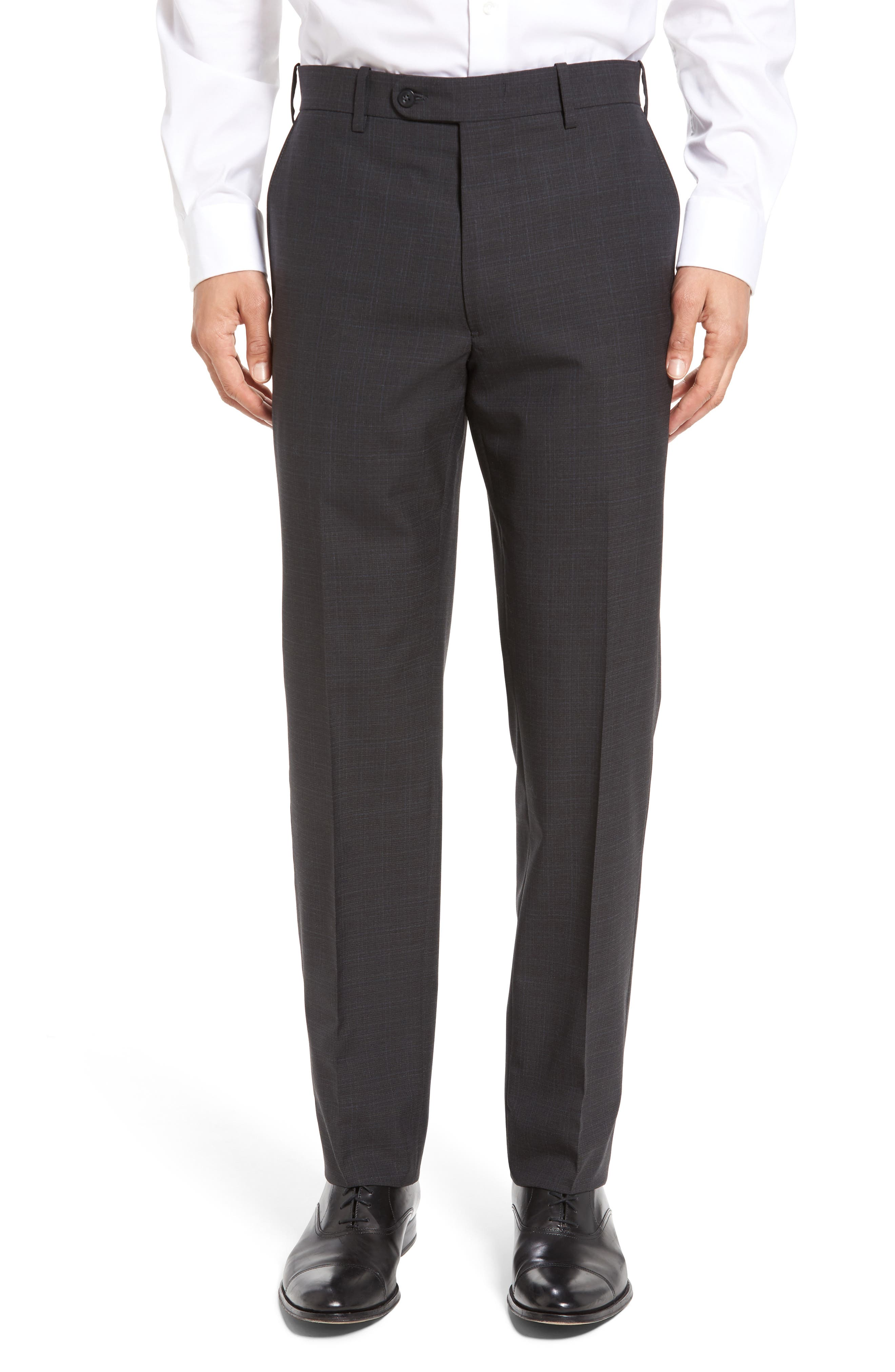 Flat Front Plaid Wool Trousers,                         Main,                         color,