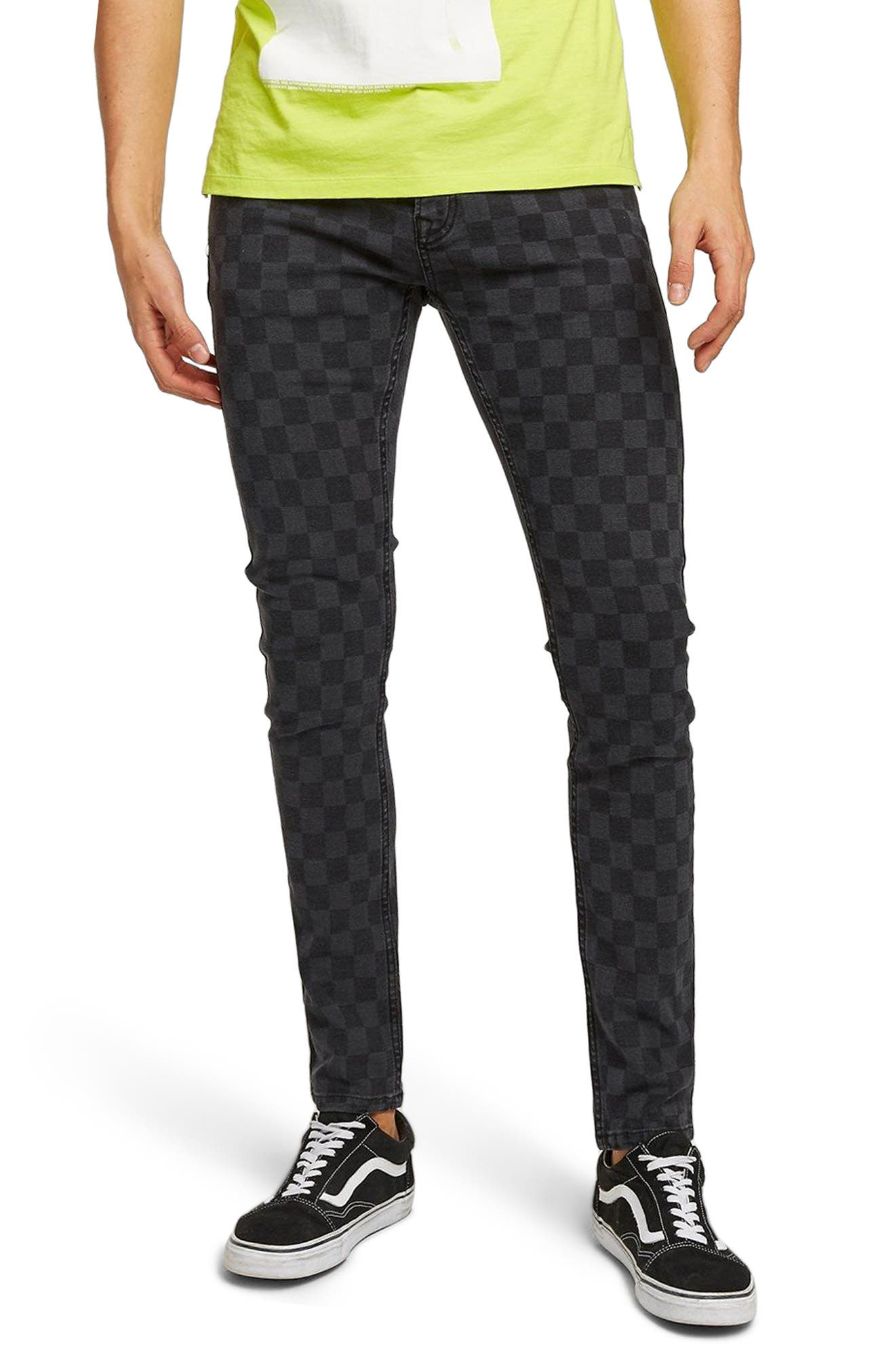 Check Stretch Skinny Fit Pants,                         Main,                         color, BLACK MULTI