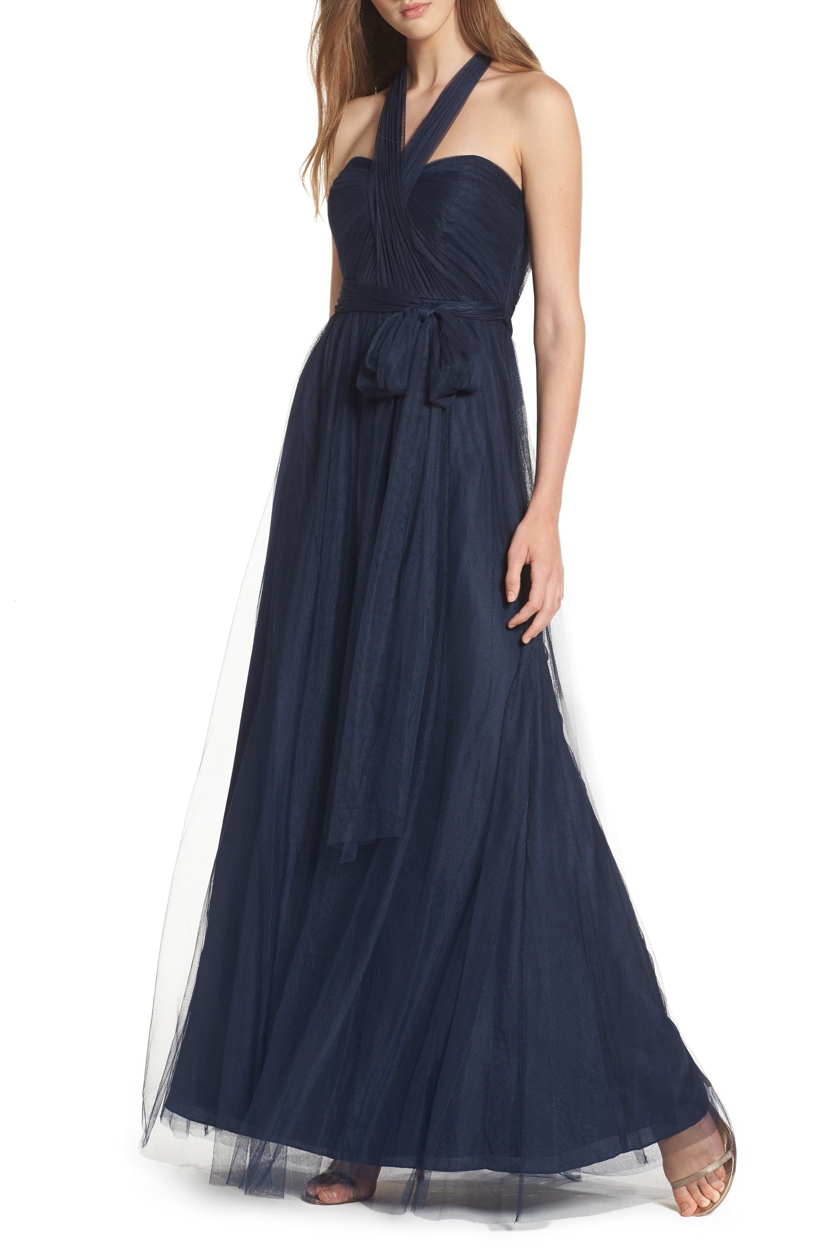 Annabelle Convertible Tulle Column Dress,                         Main,                         color, NAVY