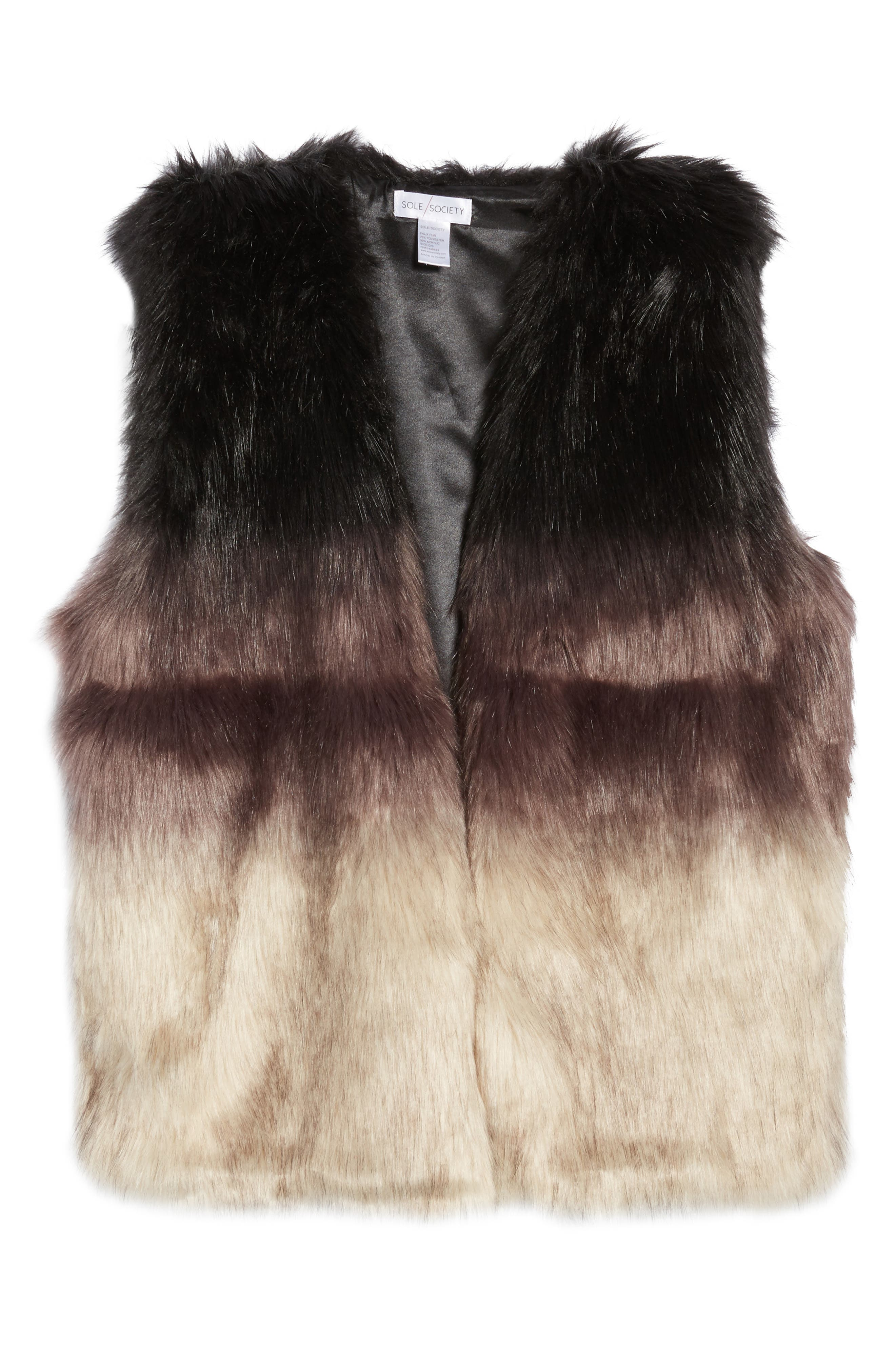 Ombré Faux Fur Vest,                             Alternate thumbnail 5, color,                             001