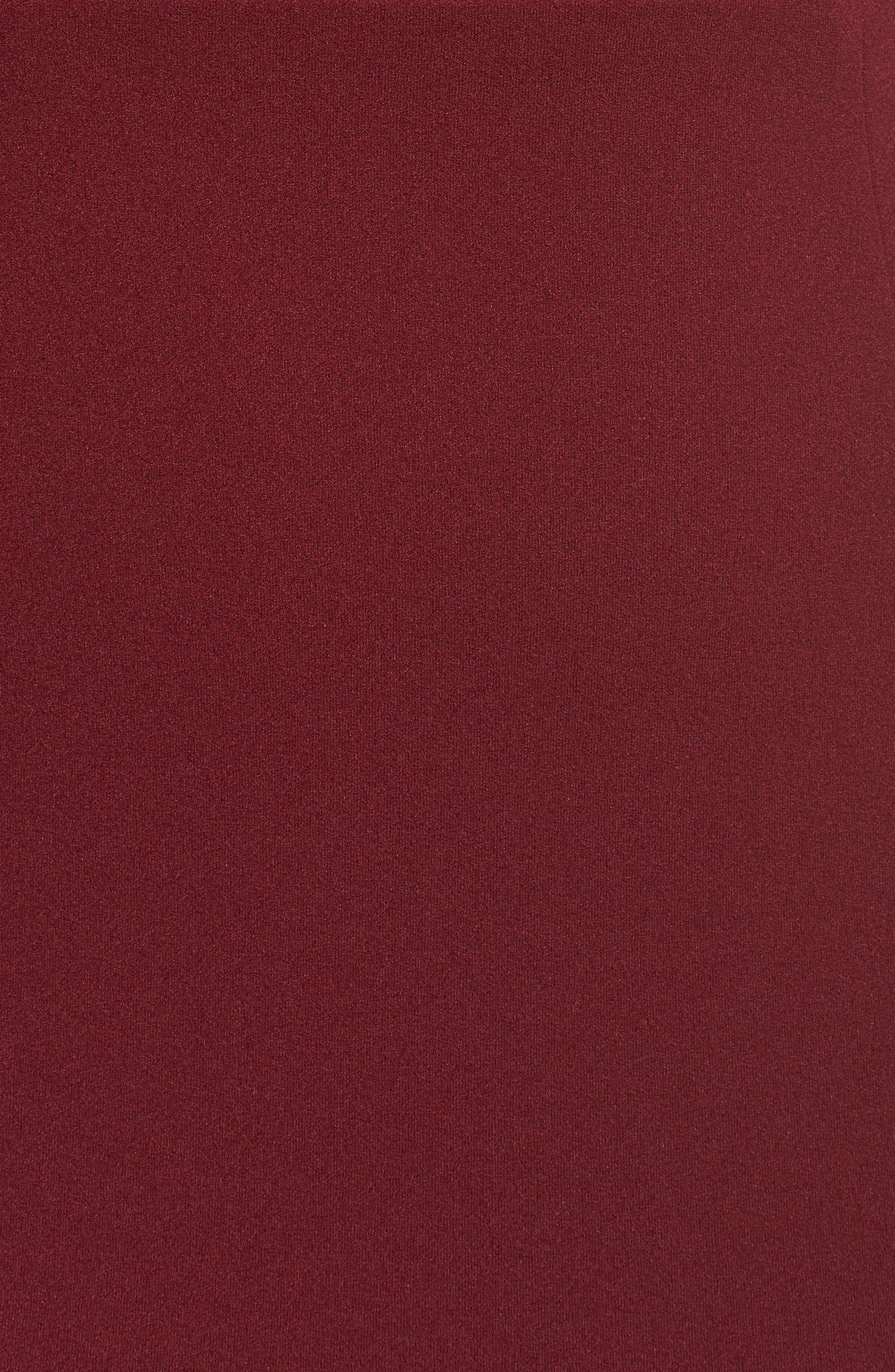 Legacy Crepe Body-Con Gown,                             Alternate thumbnail 5, color,                             BORDEAUX