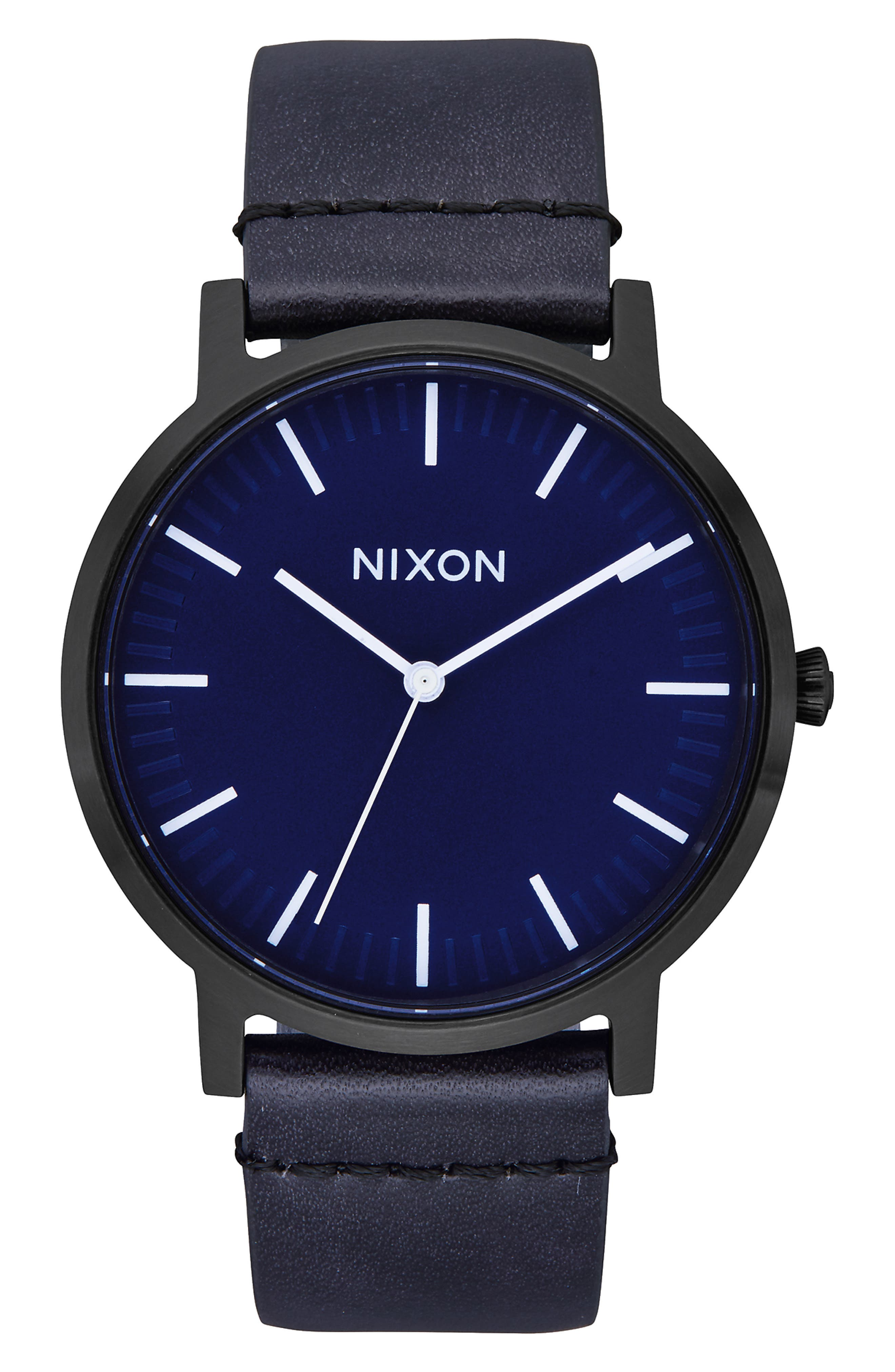 NIXON,                             Porter Round Leather Strap Watch, 40mm,                             Main thumbnail 1, color,                             BLACK/ DARK BLUE/ BLACK