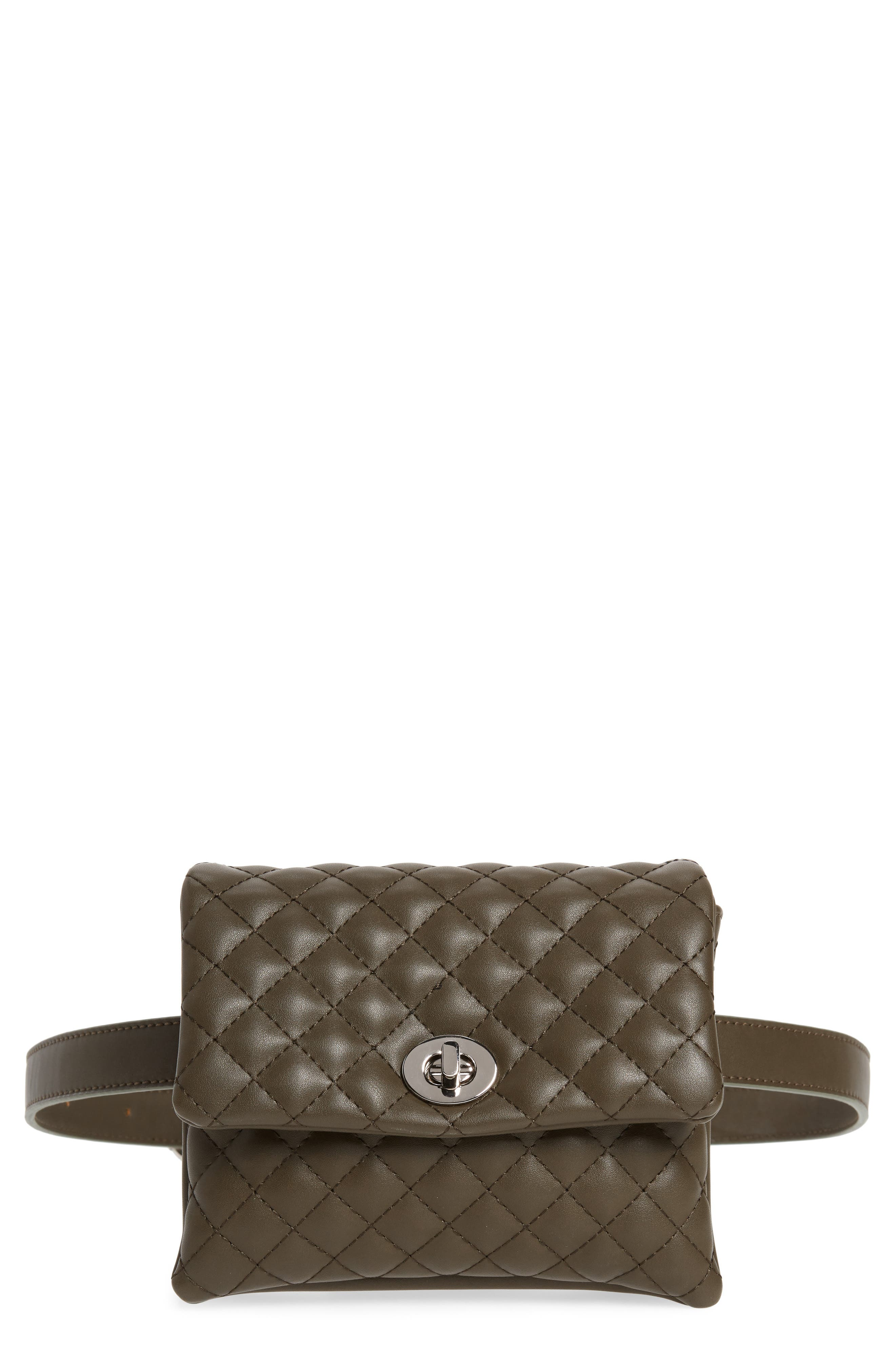 Mali + Lili Quilted Vegan Leather Convertible Belt Bag,                             Main thumbnail 1, color,                             OLIVE