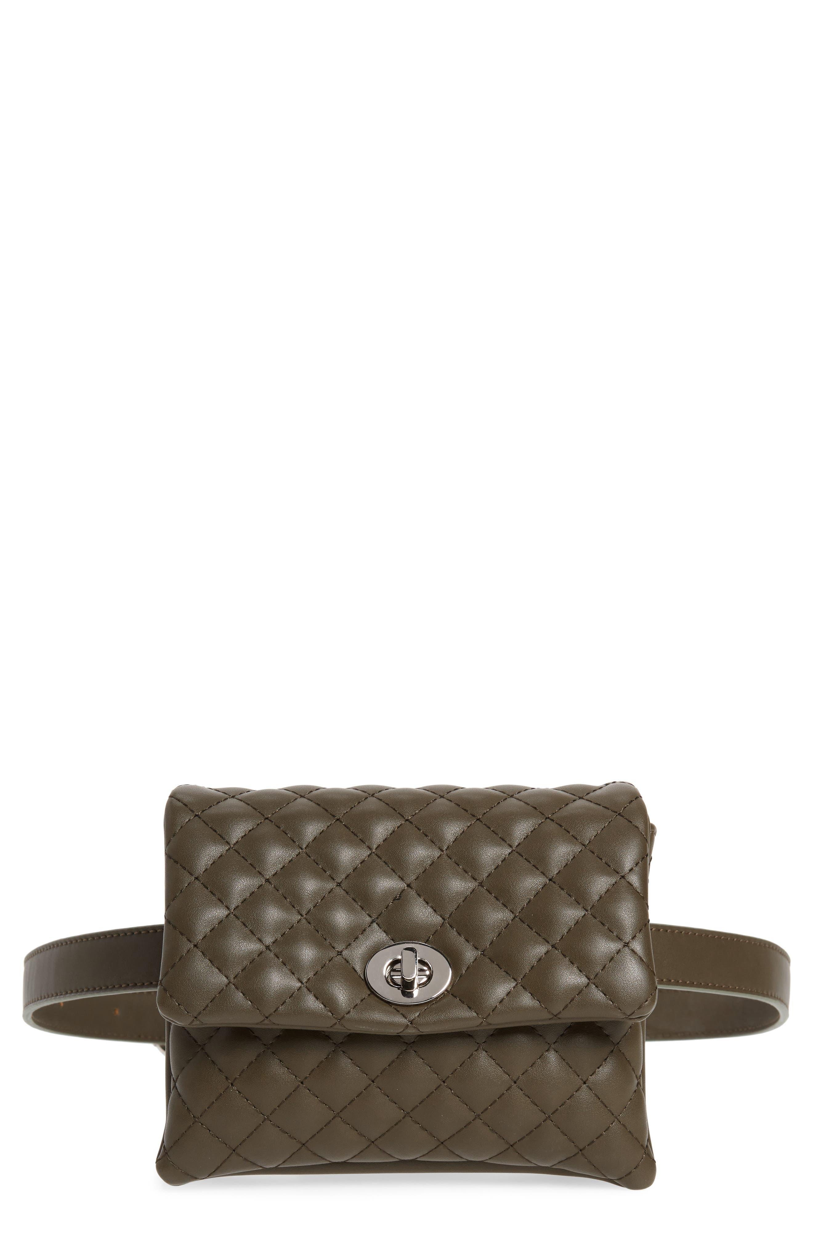 Mali + Lili Quilted Vegan Leather Convertible Belt Bag,                         Main,                         color, OLIVE