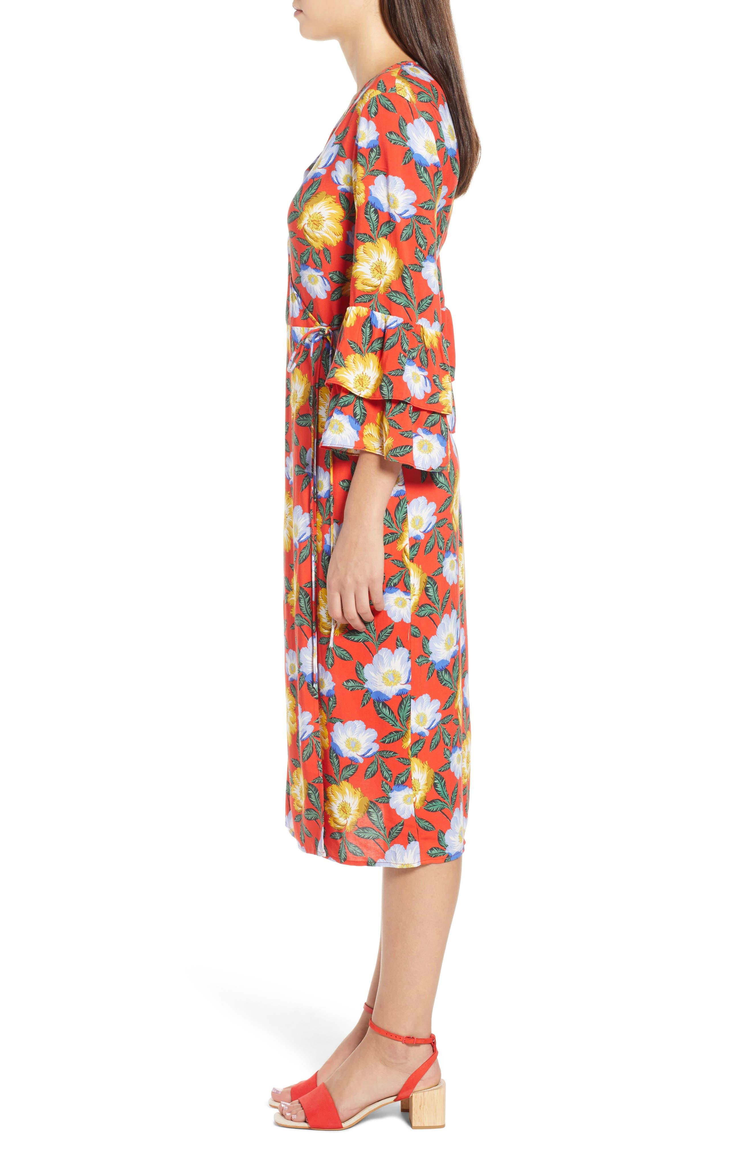 Reunion Floral Wrap Dress,                             Alternate thumbnail 3, color,                             800