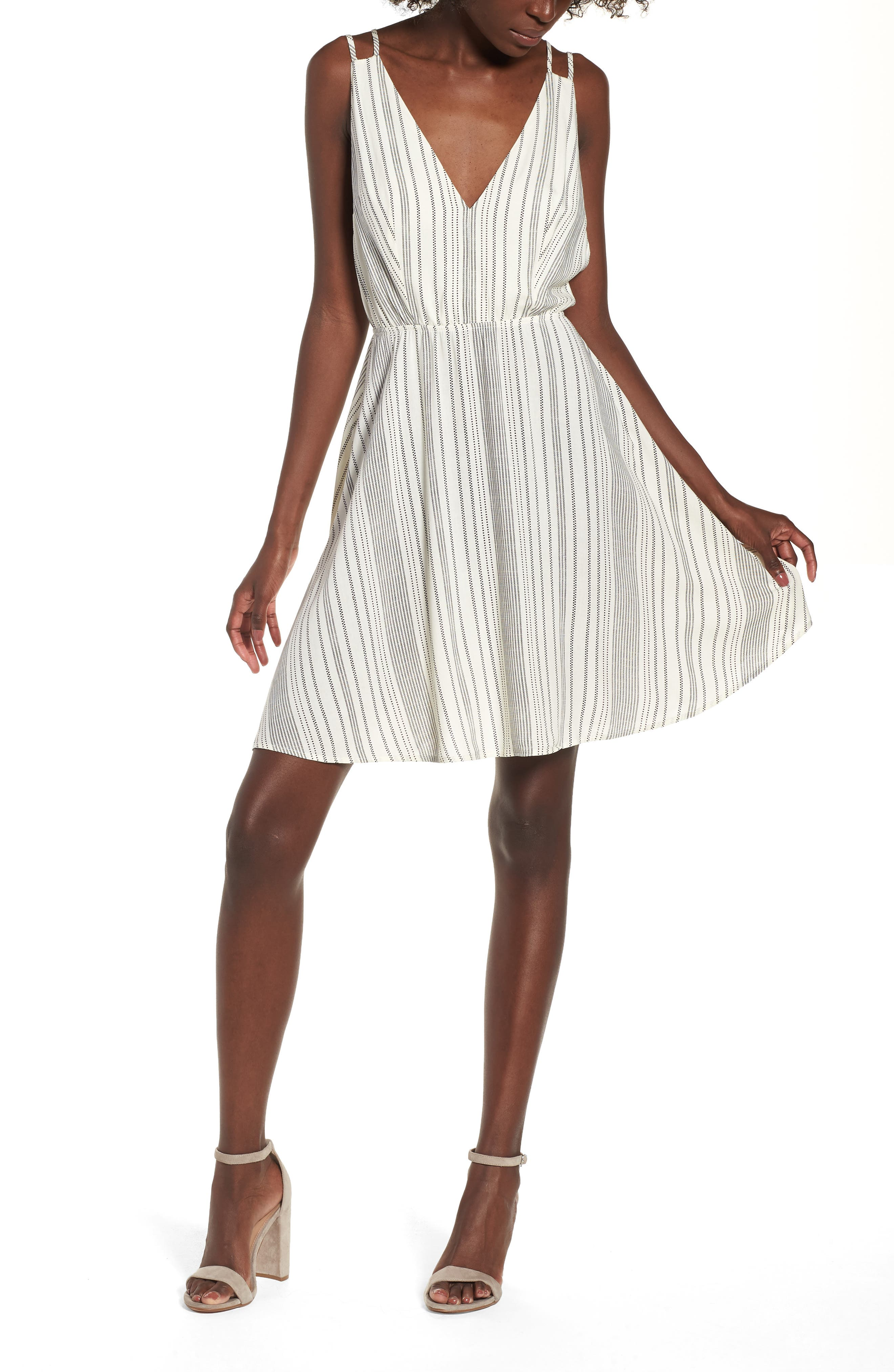 Stripe Strappy Swing Dress, Main, color, 900