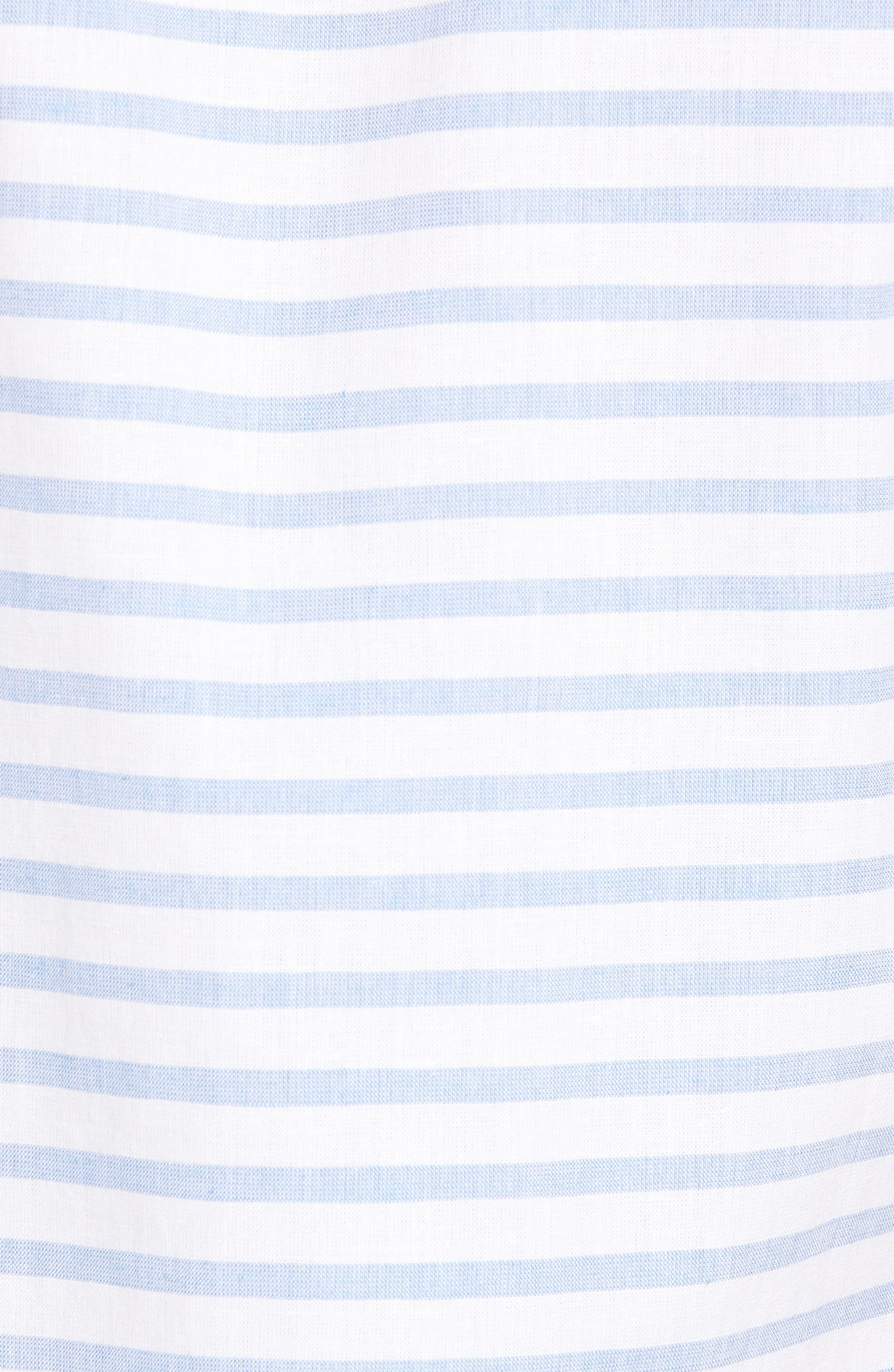 Gunnin Stripe Slim Fit Cotton & Linen Sport Shirt,                             Alternate thumbnail 5, color,                             400