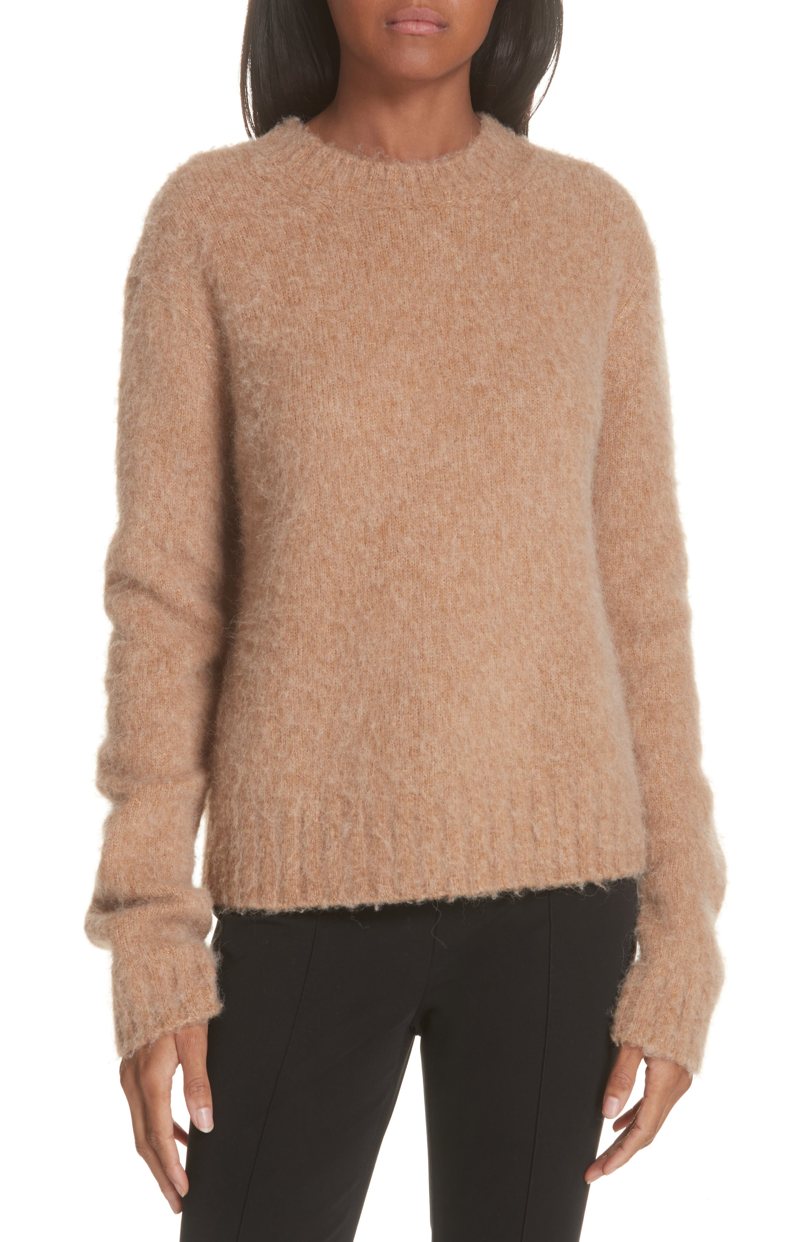 Brushed Wool & Alpaca Blend Sweater,                             Main thumbnail 1, color,                             BAND