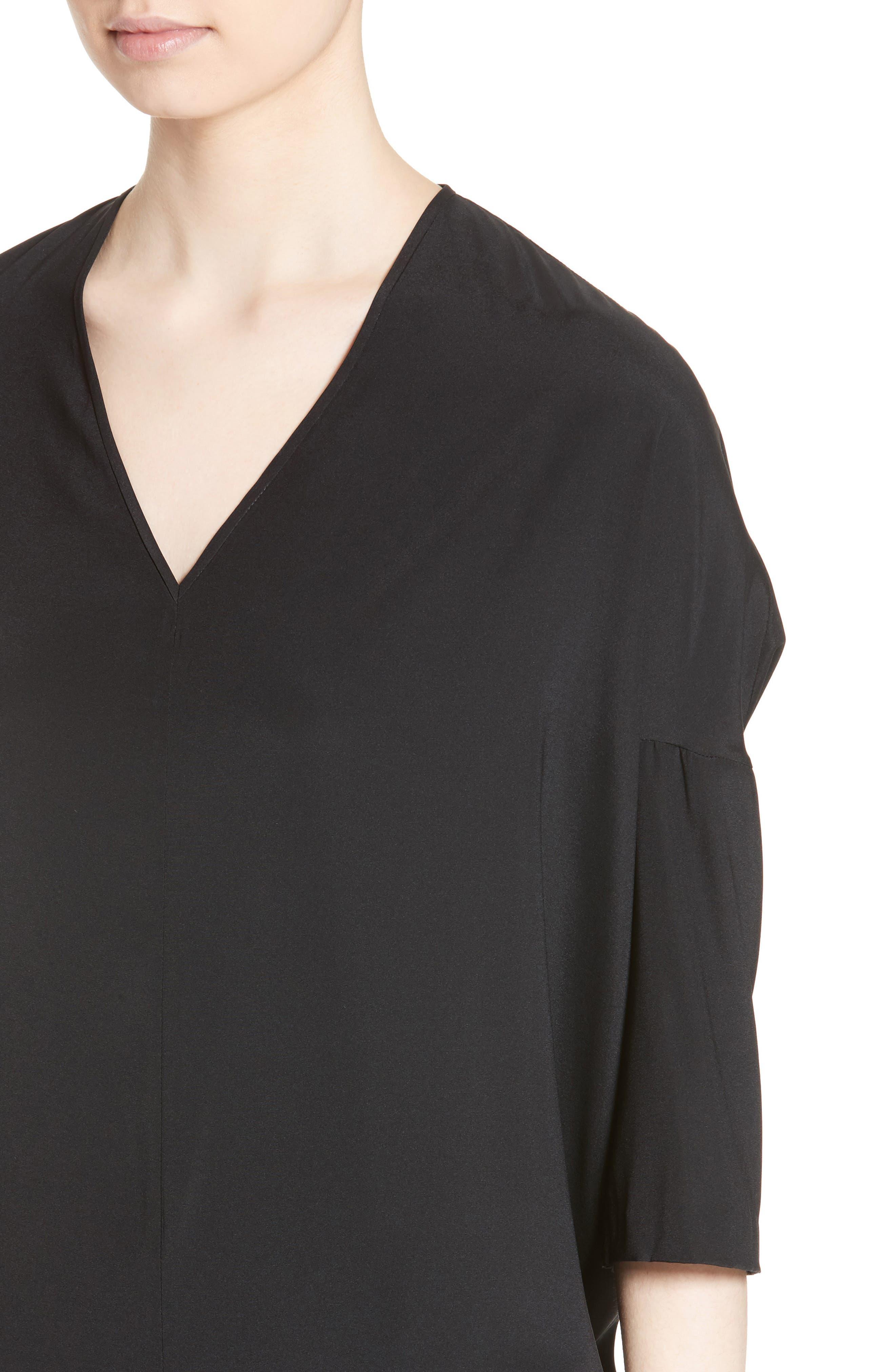 Koya Stretch Silk Charmeuse Dress,                             Alternate thumbnail 4, color,                             001