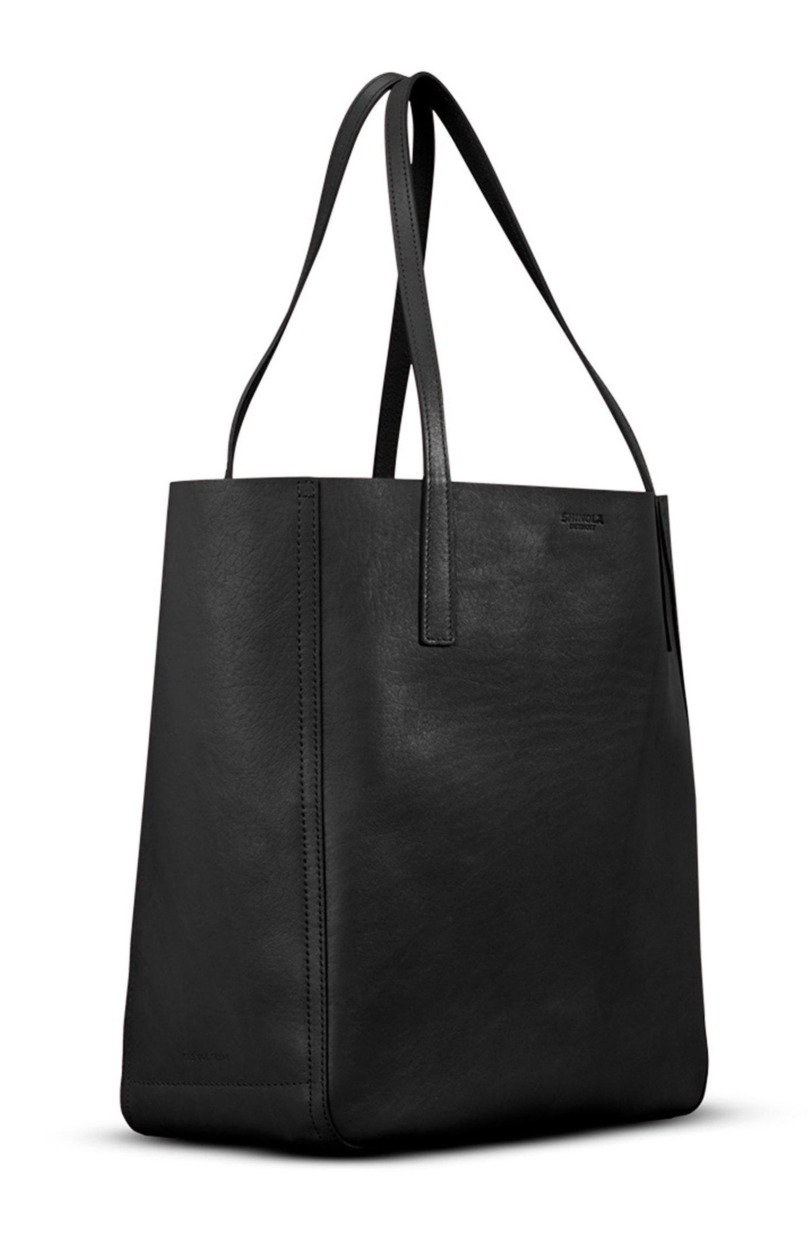 Medium Leather Shopper,                             Alternate thumbnail 4, color,                             BLACK