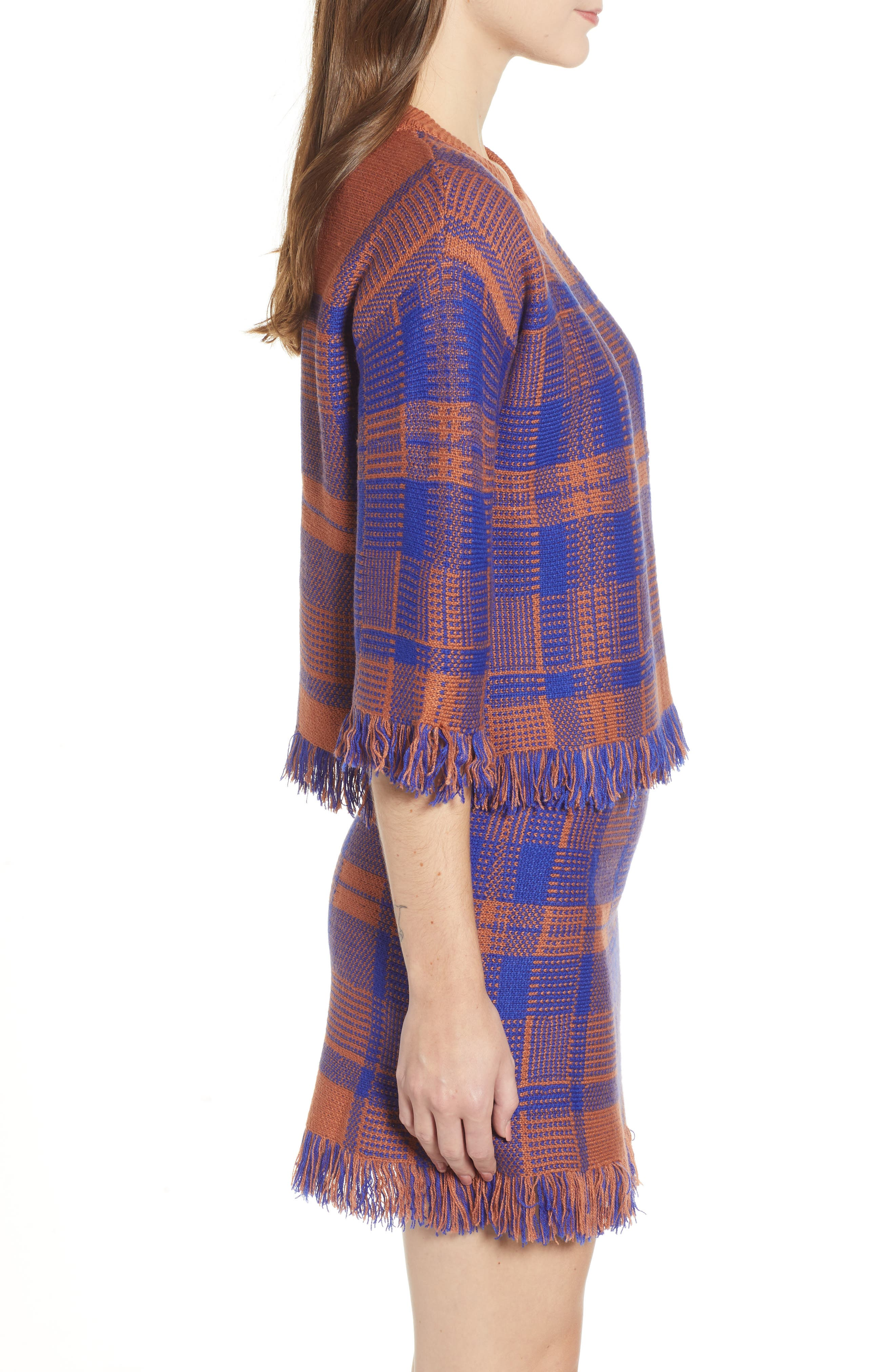 Plaid Fringe Hem Sweater,                             Alternate thumbnail 3, color,                             BROWN