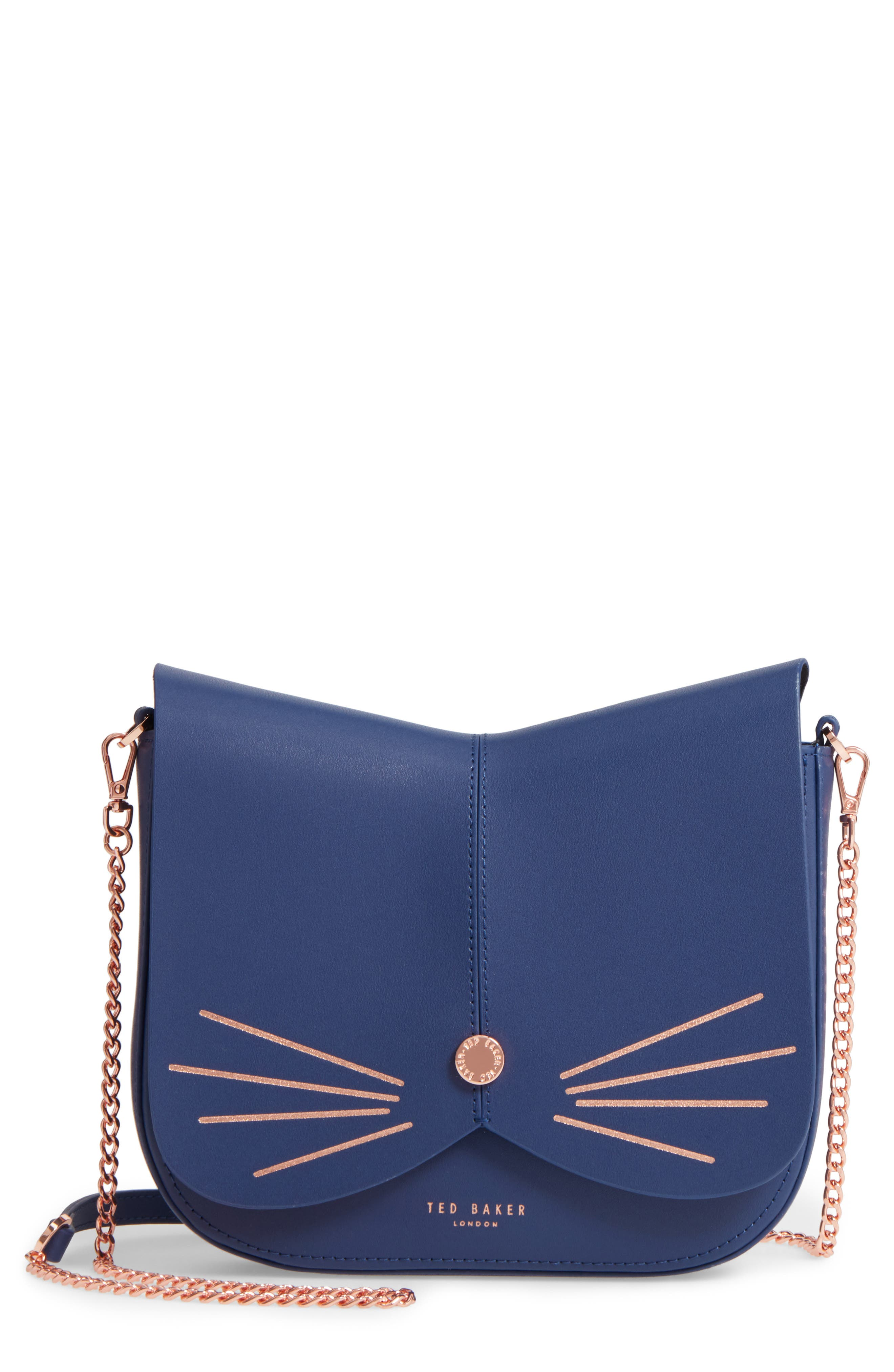 Kittii Cat Leather Crossbody Bag,                             Main thumbnail 3, color,