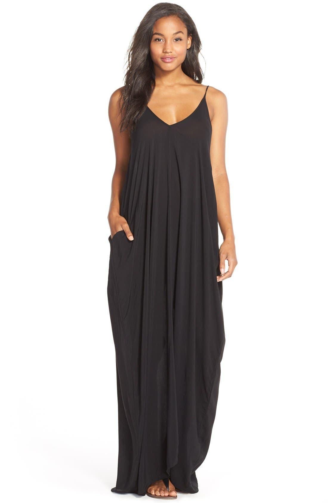 V-Back Cover-Up Maxi Dress,                         Main,                         color, BLACK