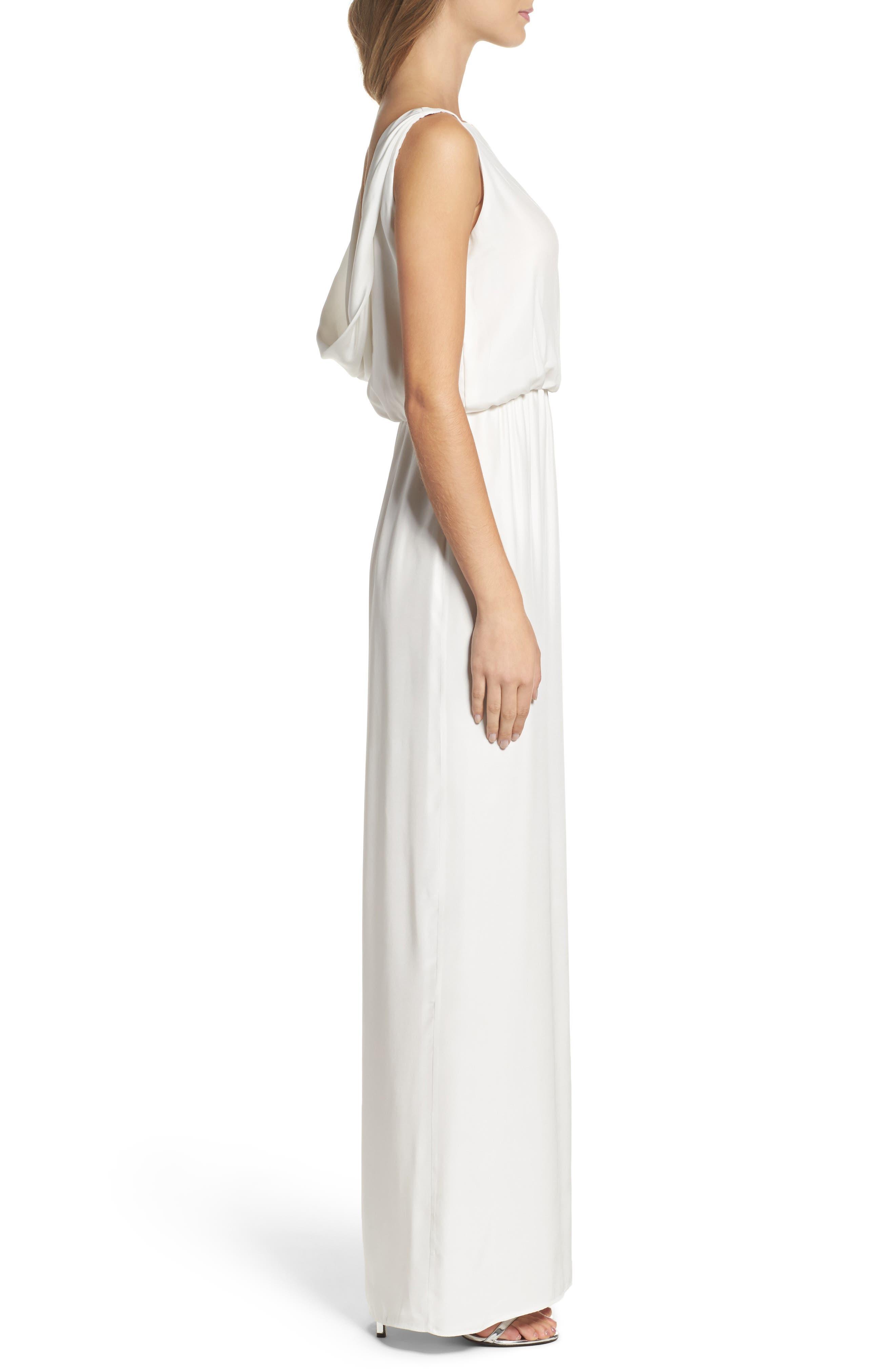 Drape Back Silk Column Gown,                             Alternate thumbnail 8, color,