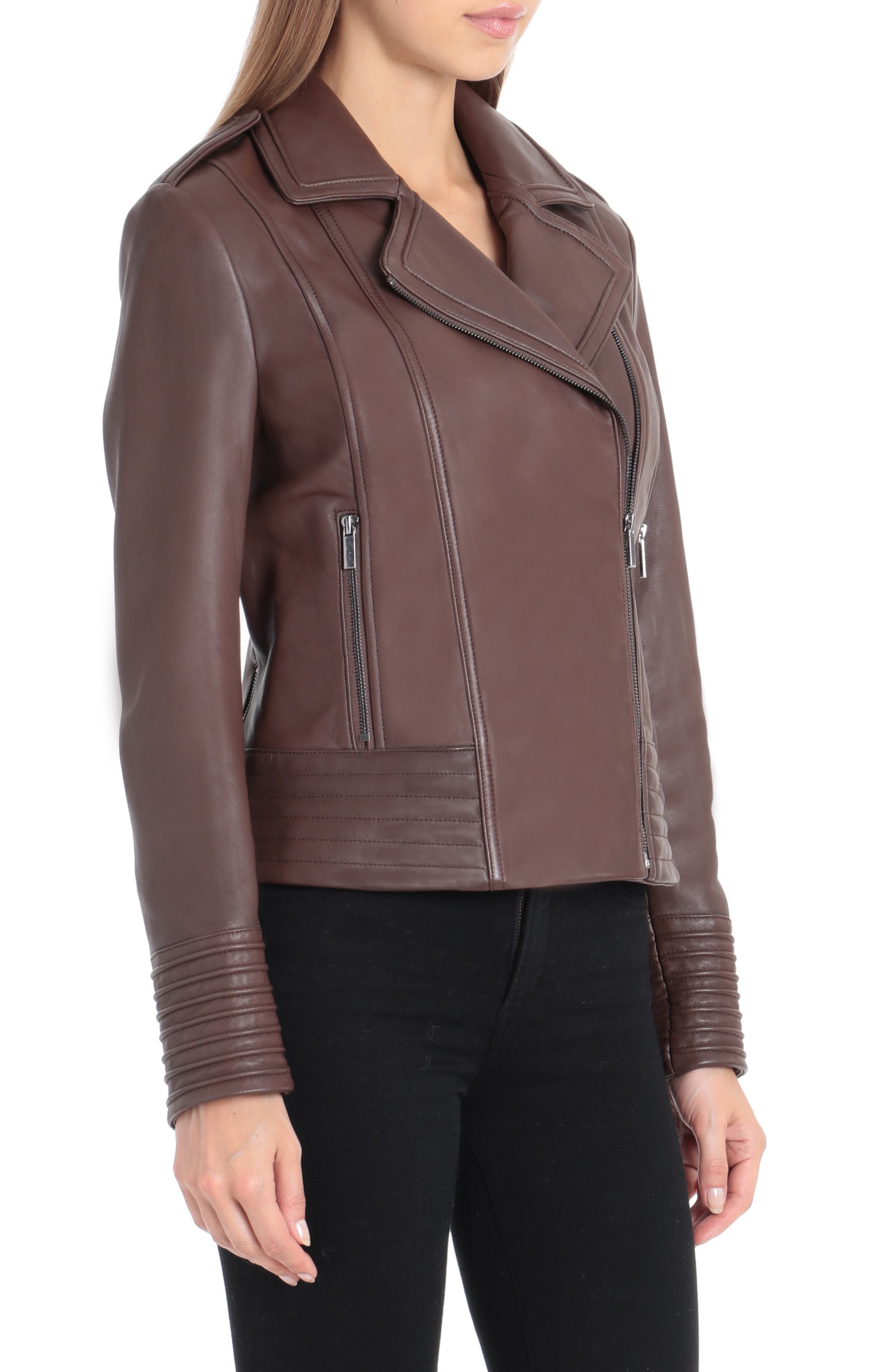 Gia Leather Biker Jacket,                             Alternate thumbnail 3, color,                             CHOCOLATE