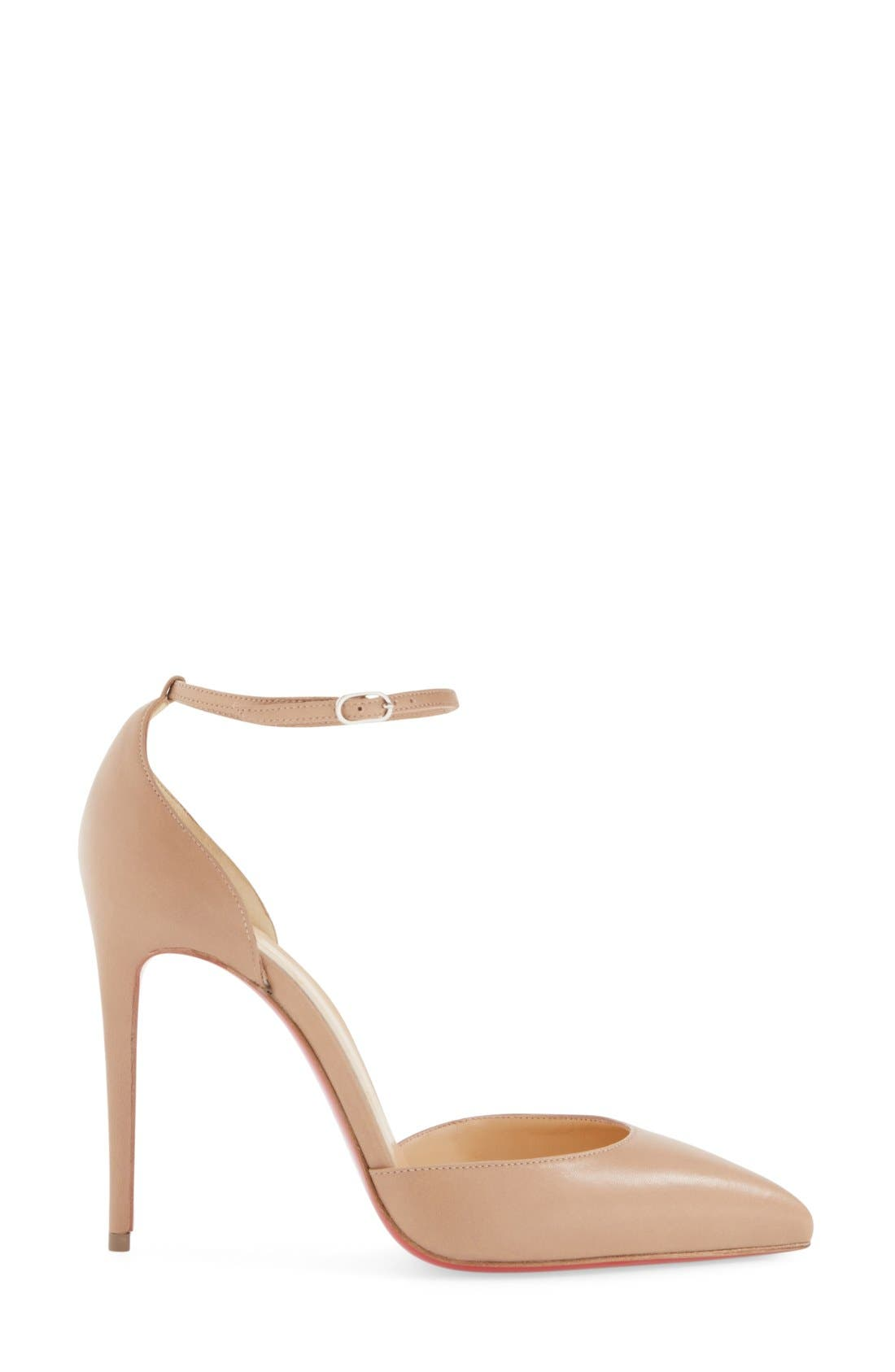 Uptown Ankle Strap Pointy Toe Pump,                             Alternate thumbnail 4, color,                             250
