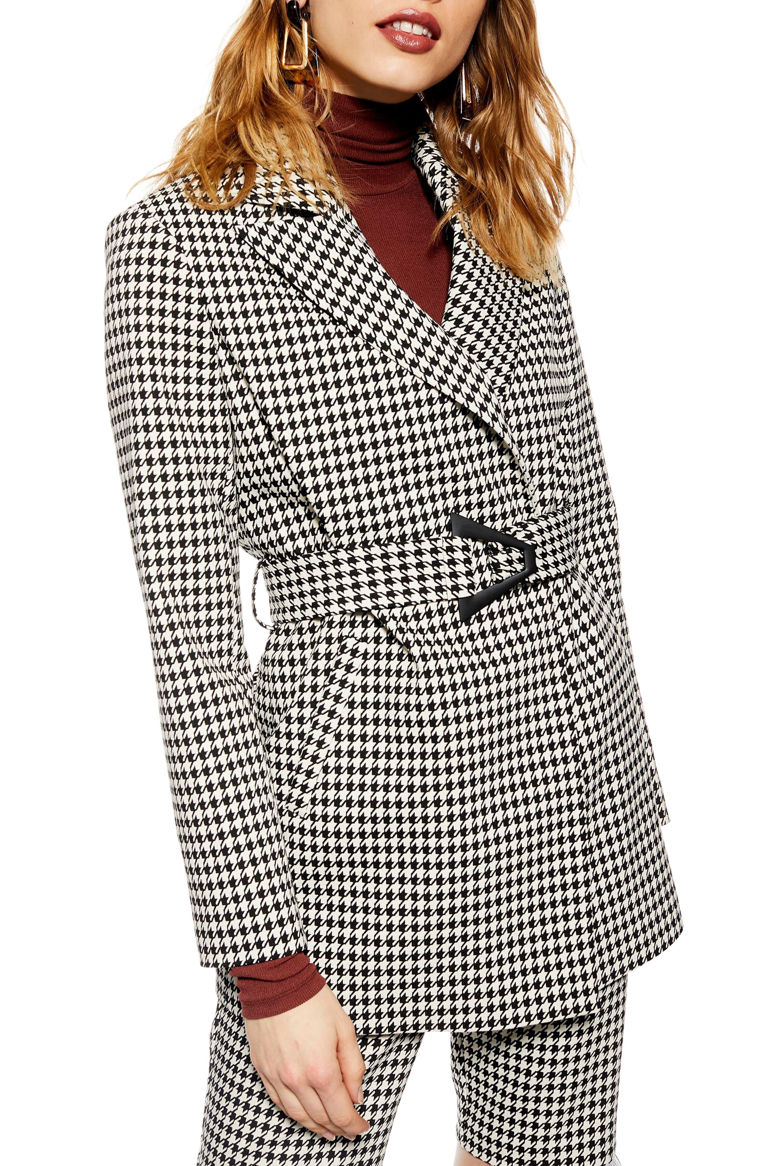 TOPSHOP Houndstooth Jacket, Main, color, BLACK MULTI